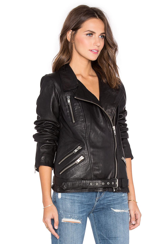 maison scotch signature leather moto jacket in black lyst. Black Bedroom Furniture Sets. Home Design Ideas