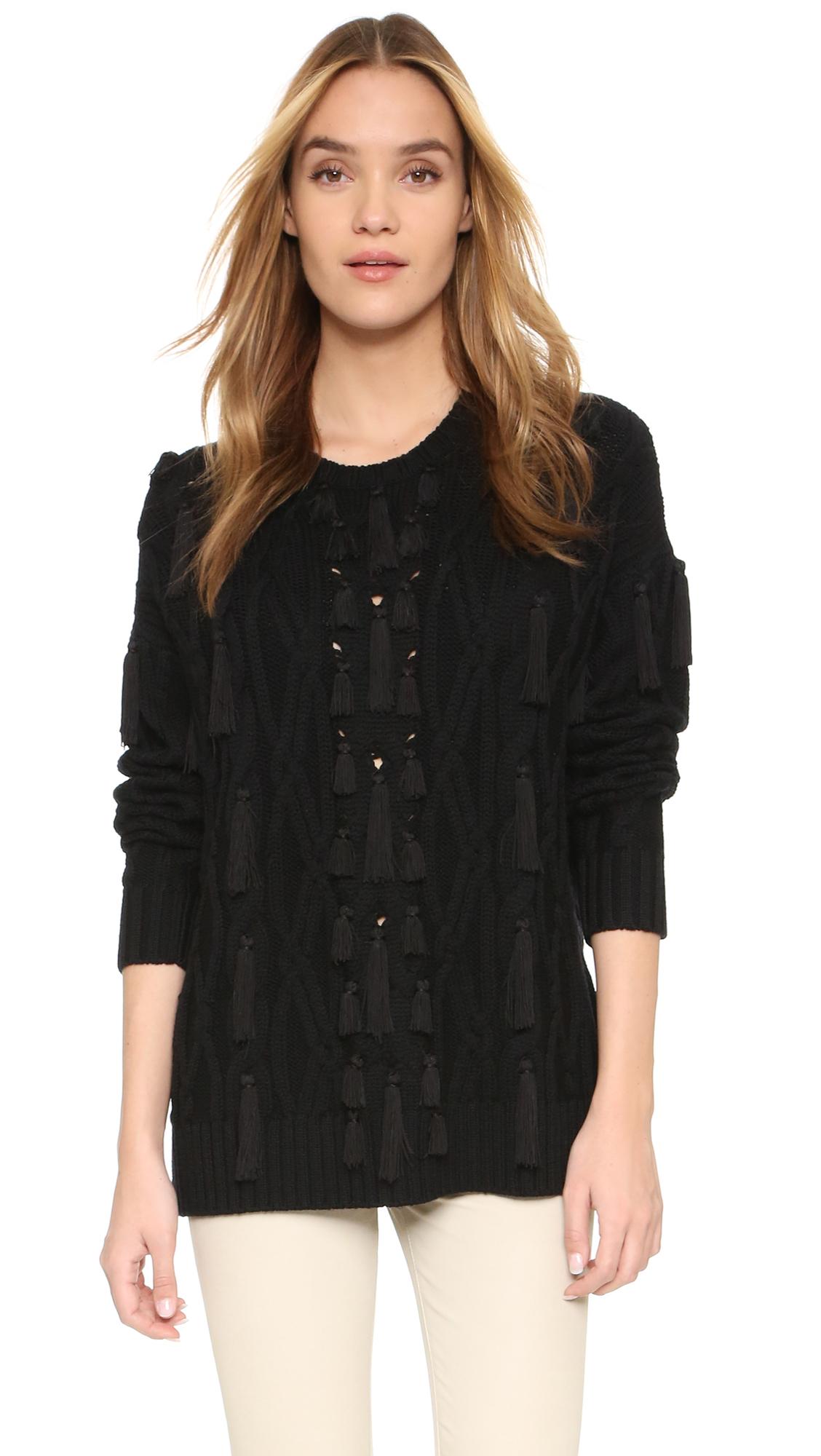 Lyst - Rachel Zoe Camrey Cable Tassel Sweater in Black
