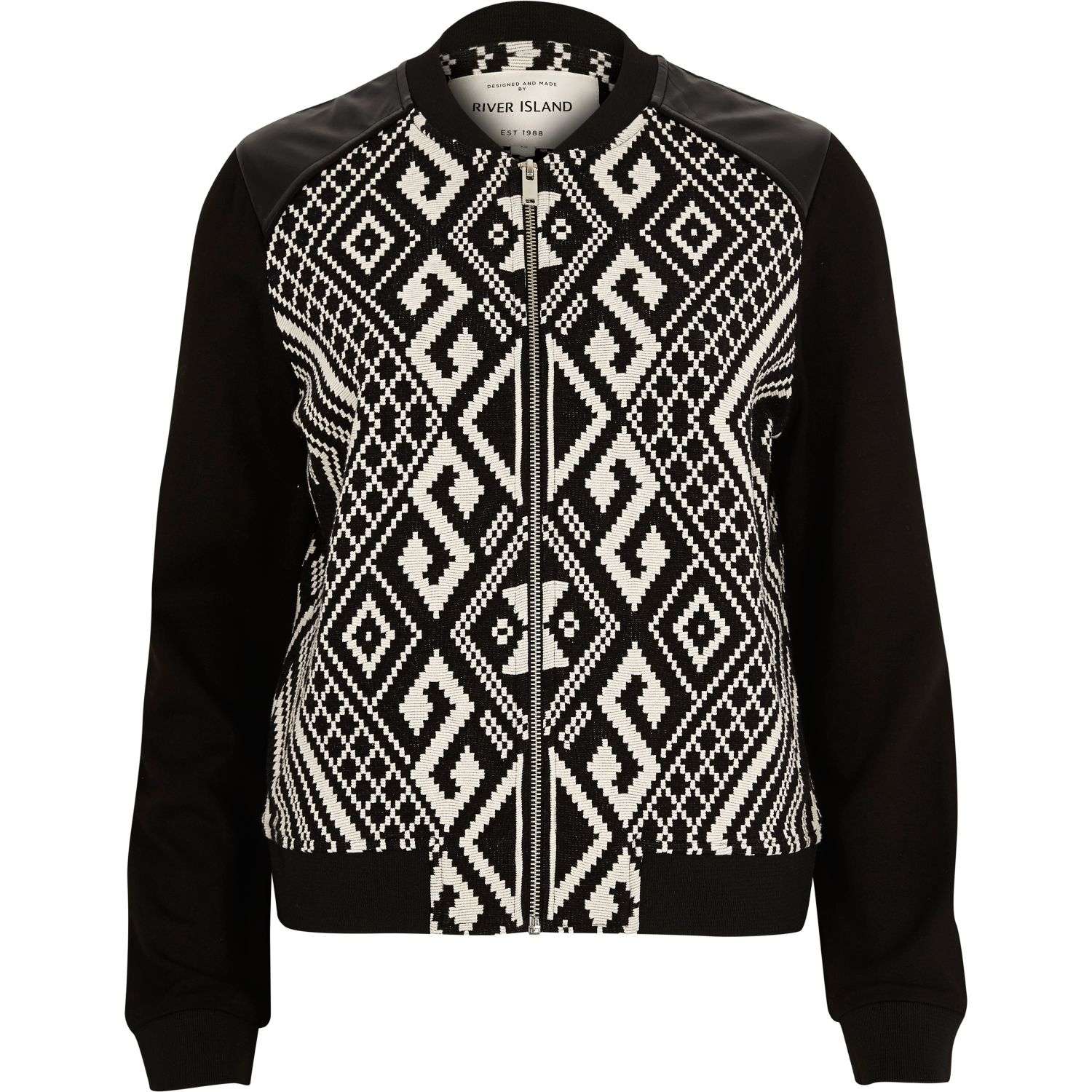 River Island Black Geometric Print Bomber Jacket In Black