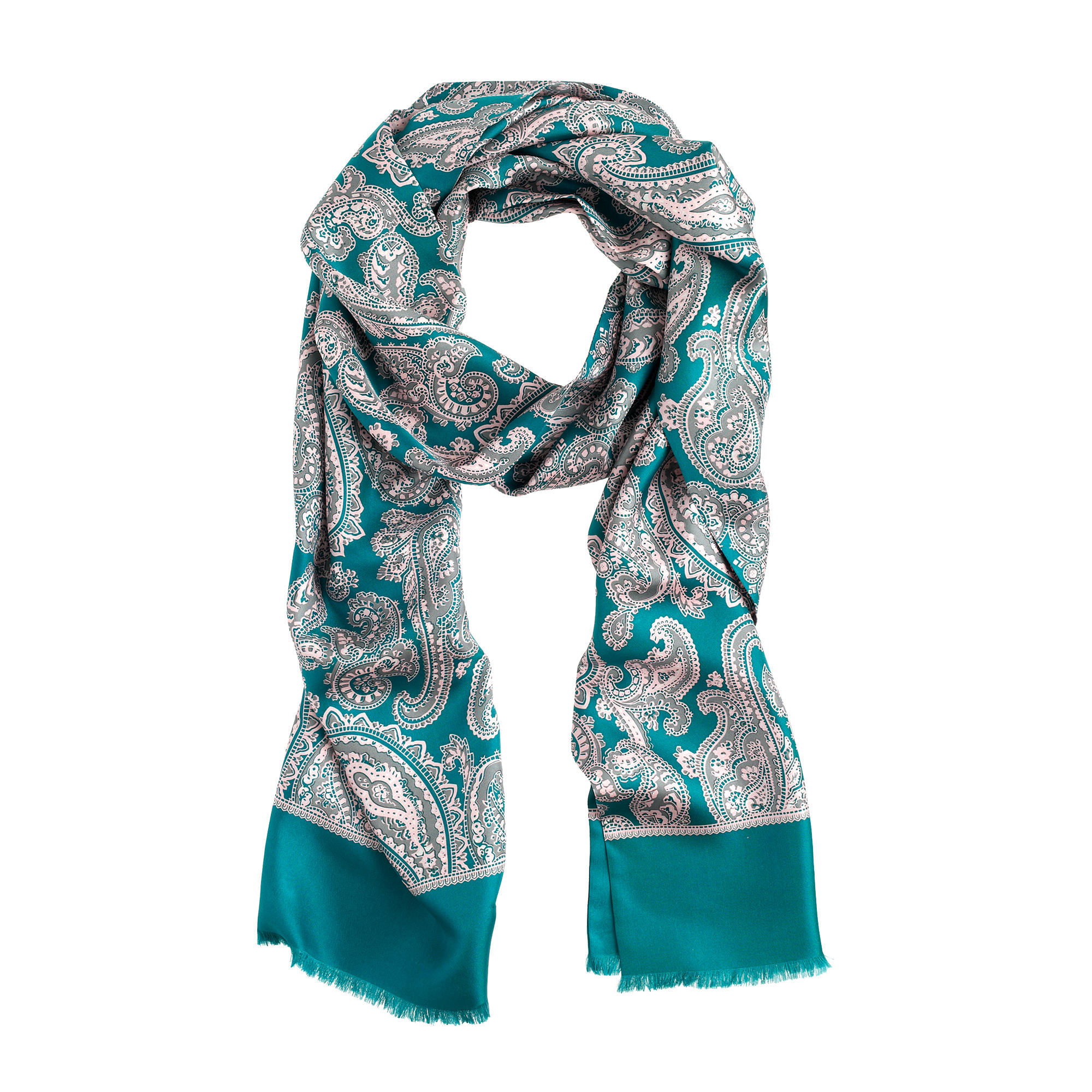 lyst j crew paisley silk scarf in green. Black Bedroom Furniture Sets. Home Design Ideas