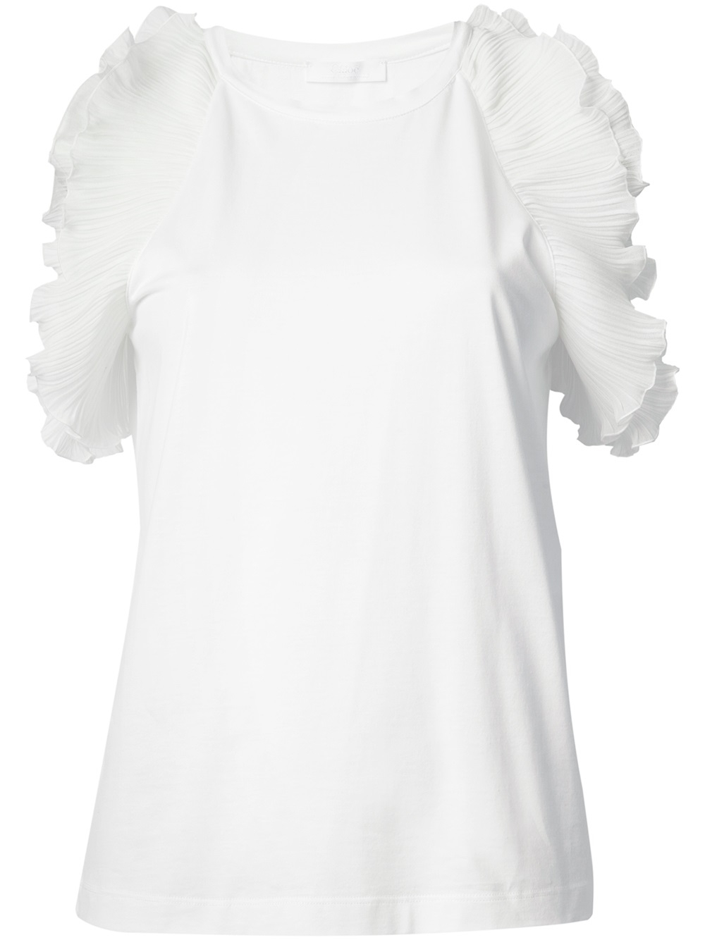 Lyst - Chloé Ruffle Sleeve Top in White 7277b0276