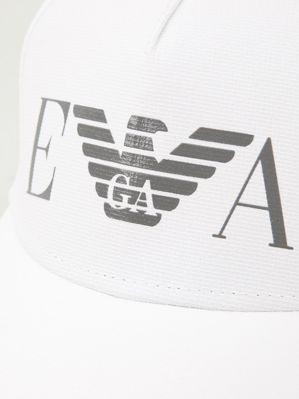 Lyst emporio armani logo cap in white for men - Emporio giorgio armani logo ...