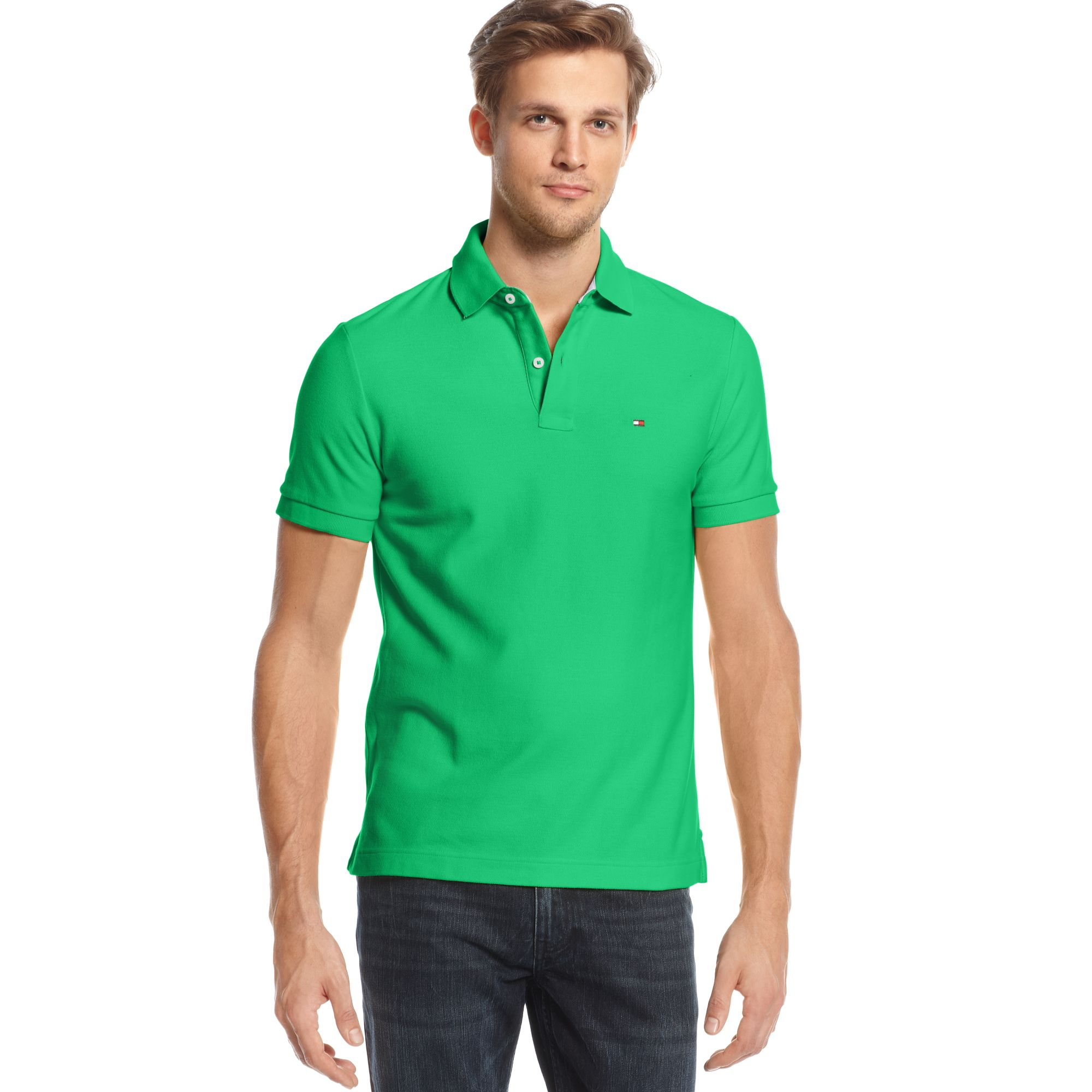lyst tommy hilfiger slim fit ivy polo shirt in green for men. Black Bedroom Furniture Sets. Home Design Ideas