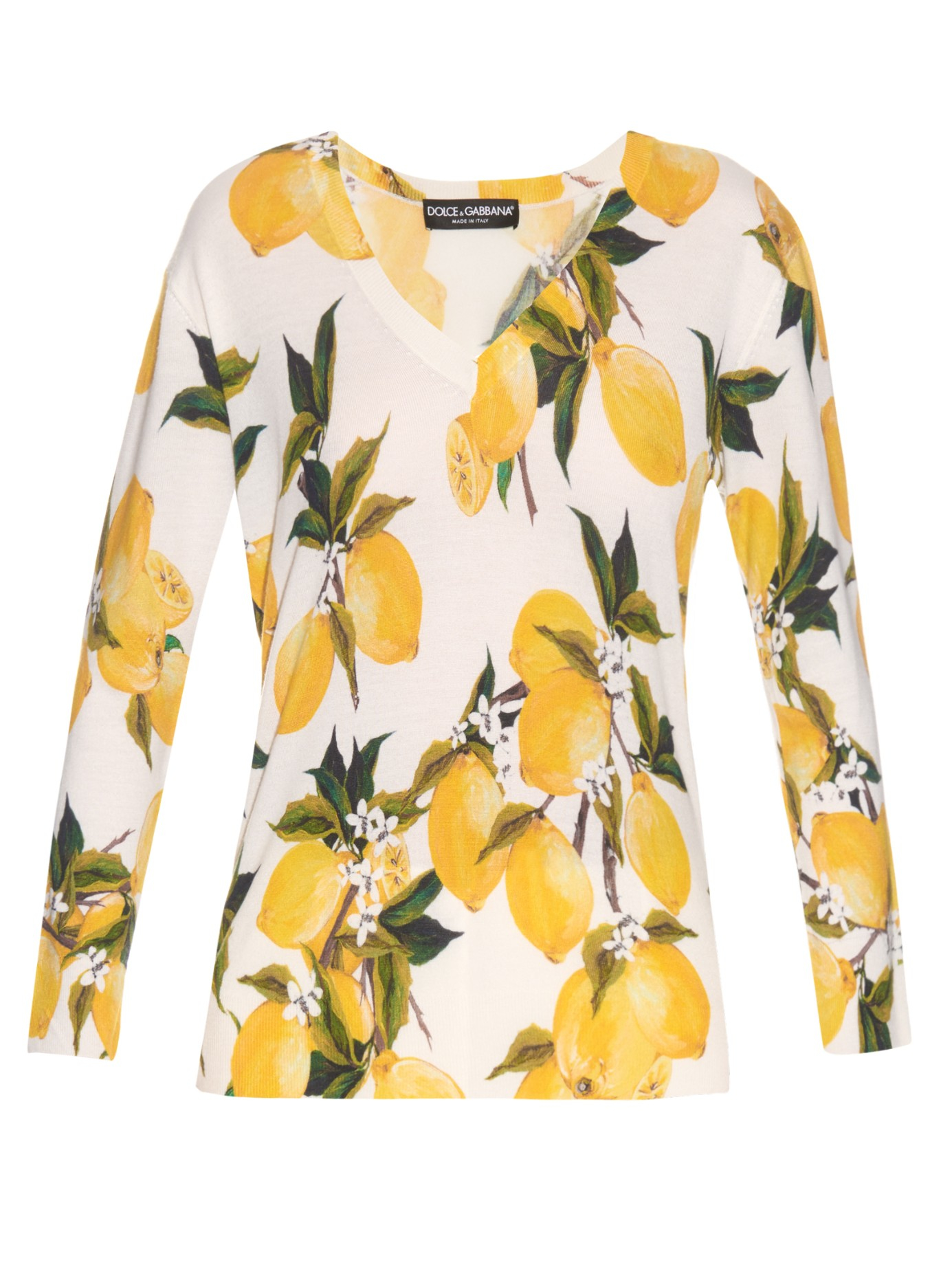 Lyst - Dolce   Gabbana Lemon-print Cashmere And Silk-blend Sweater ... de1c95a77f5a4