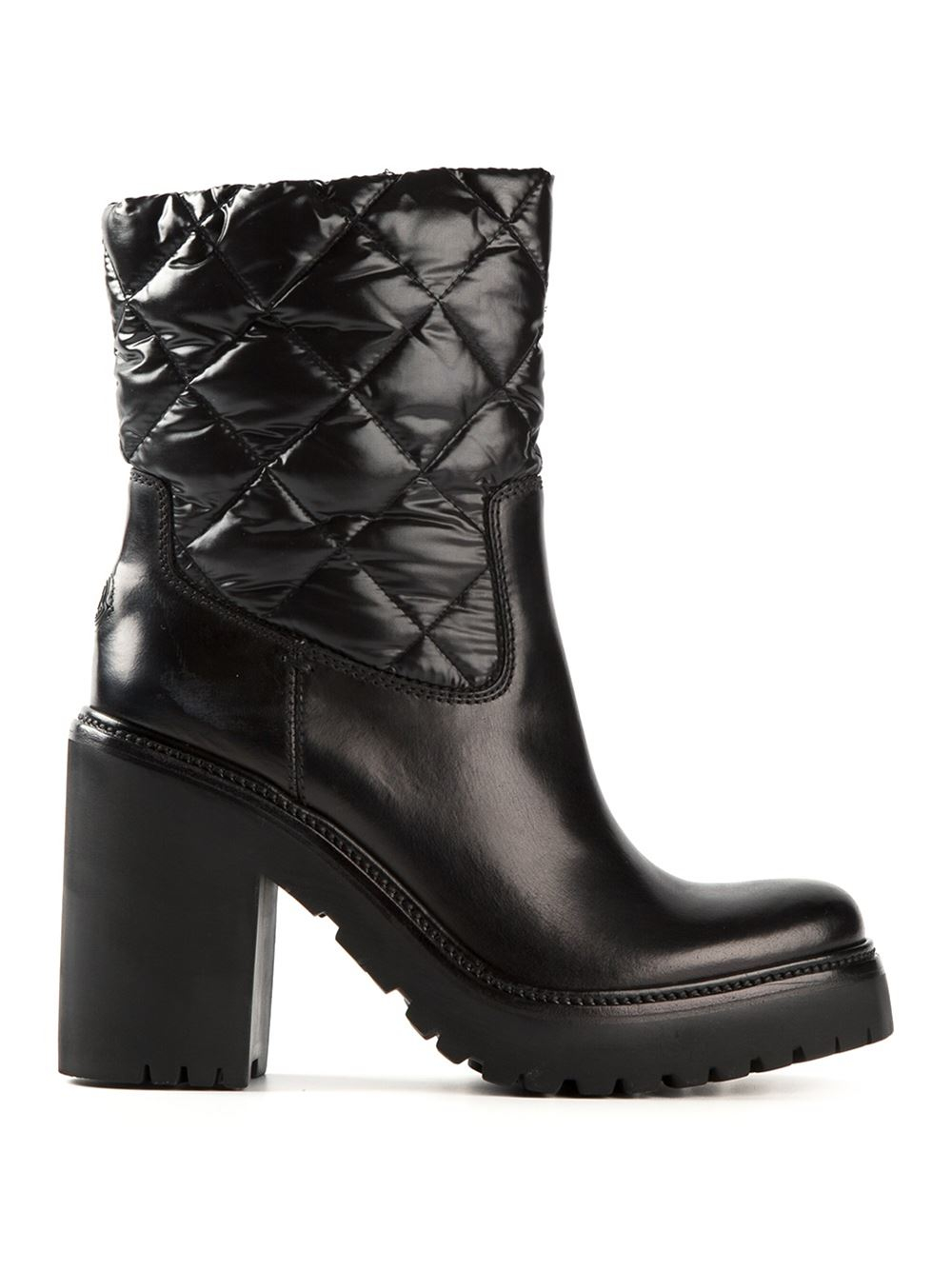 Lyst Moncler Quilted Boots In Black