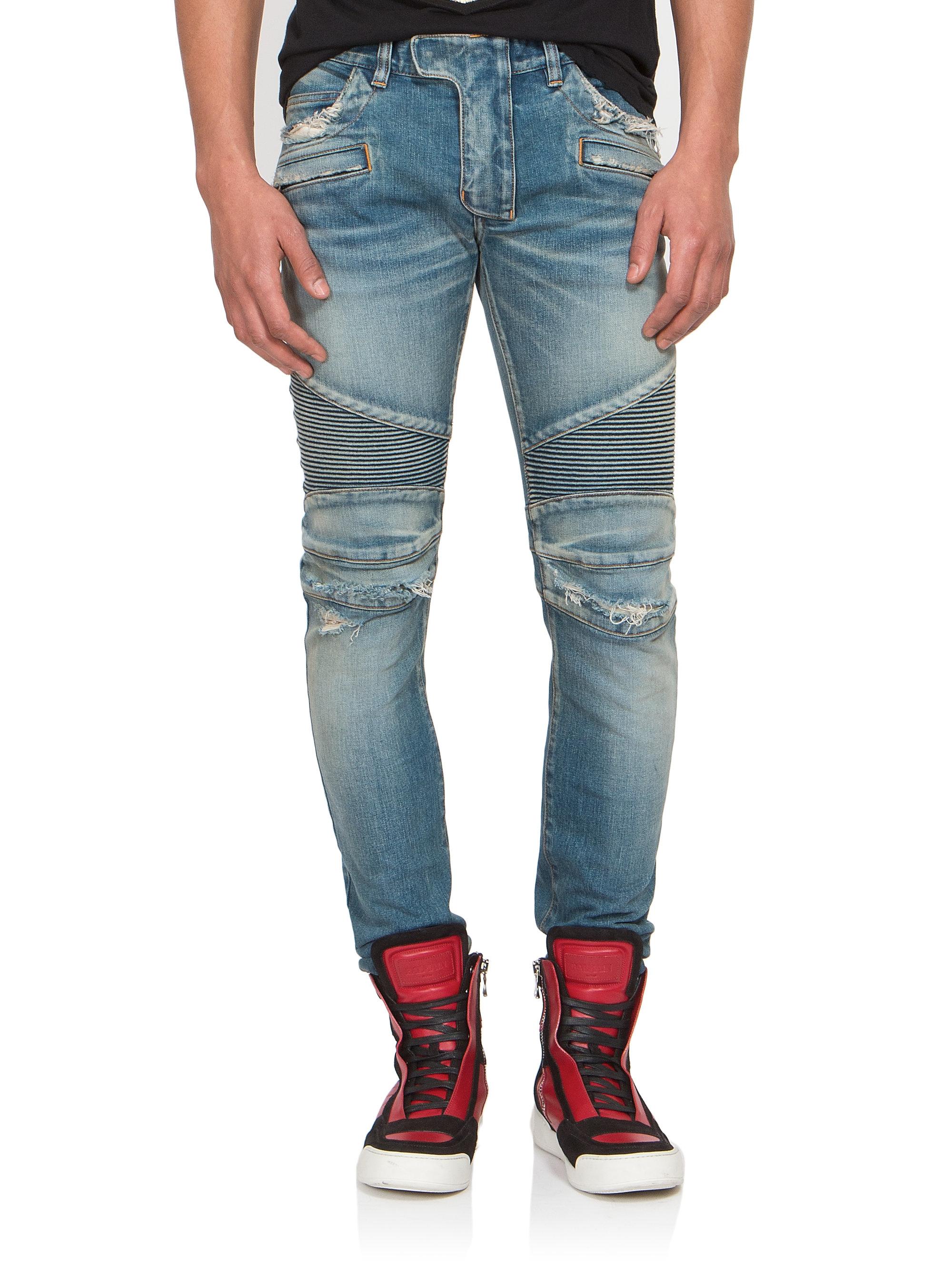balmain slim fit sand denim moto jeans in blue for men lyst. Black Bedroom Furniture Sets. Home Design Ideas