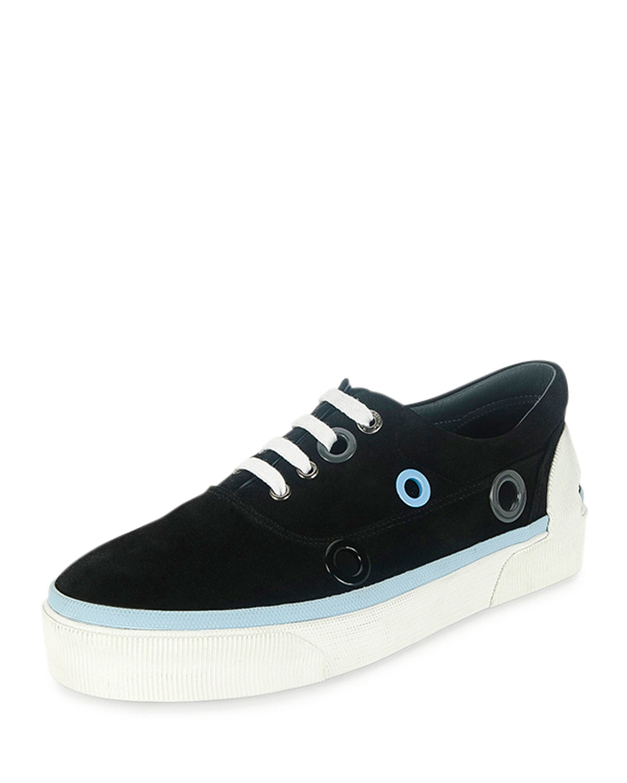 lanvin suede platform sneakers in black for lyst
