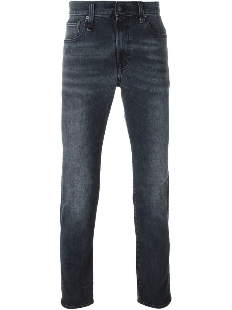 r13 slim fit jeans in black for men lyst. Black Bedroom Furniture Sets. Home Design Ideas
