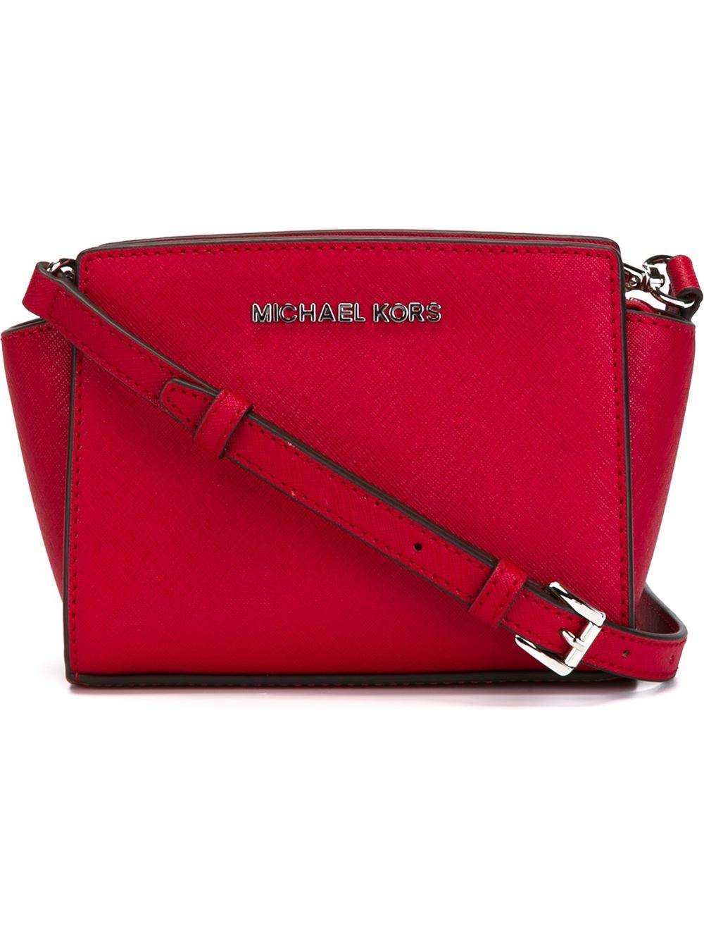 94892a31433ce promo code for michael michael kors selma mini leather cross body bag in  red lyst 213a4
