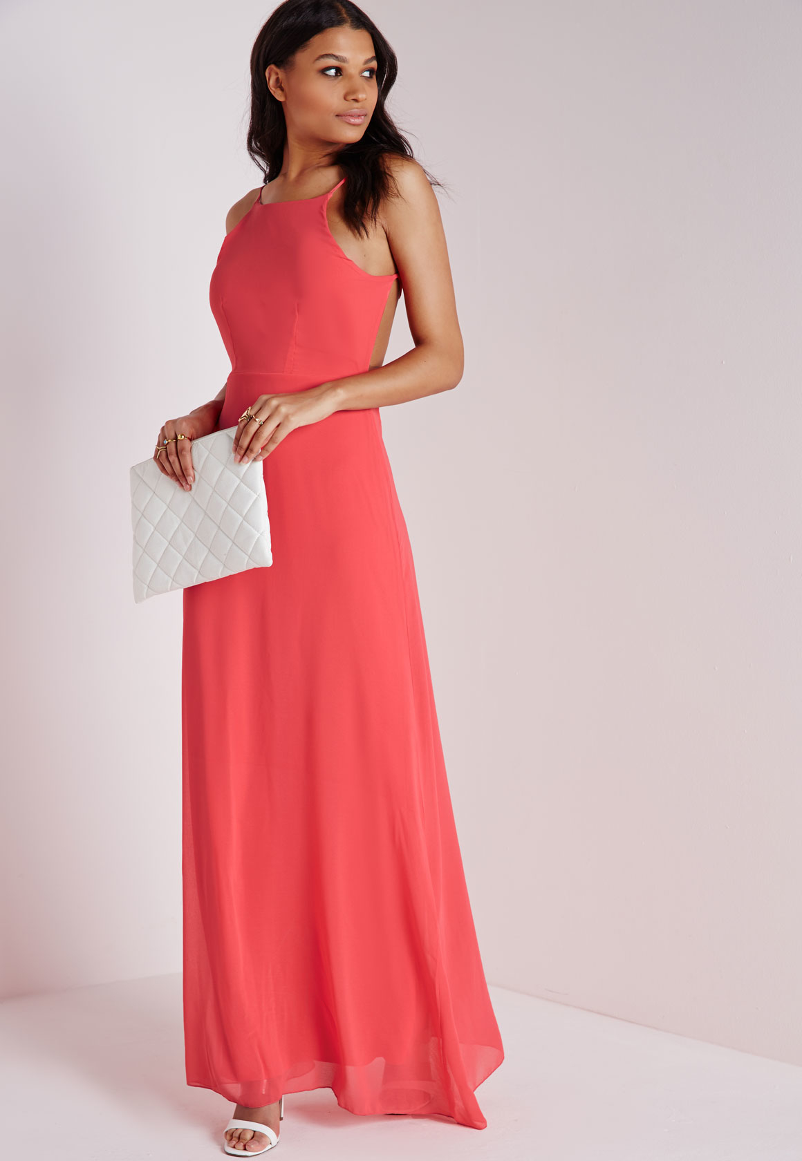 Lyst - Missguided Strappy Back Maxi Dress Coral in Pink