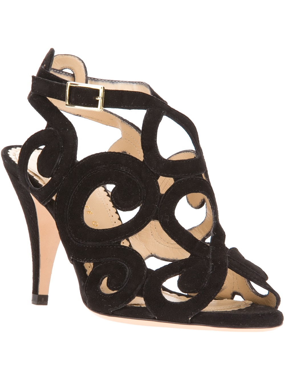 8e7fdabe1127 Lyst - Charlotte Olympia Coral Cutout Sandal in Black