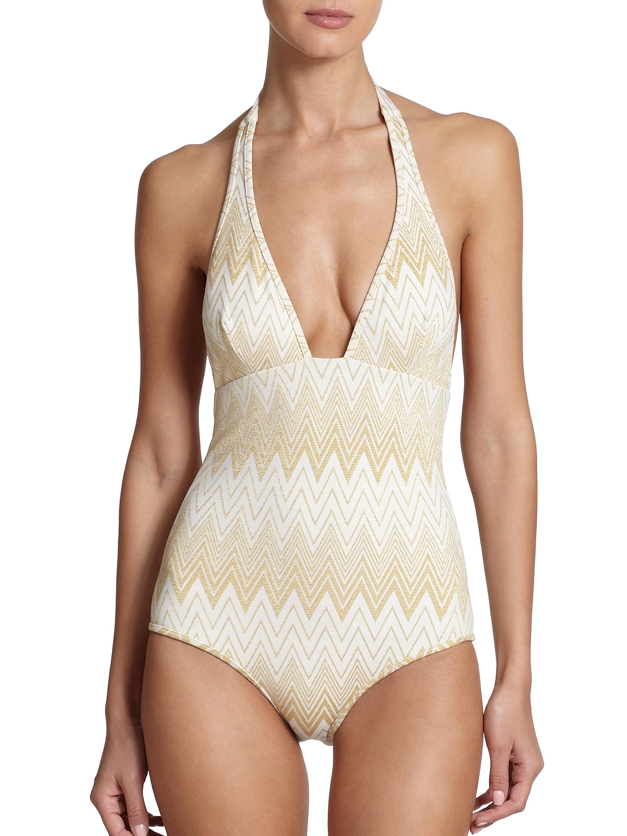 4e4daec230265 Lyst - Shoshanna One-piece Halter Swimsuit in Metallic