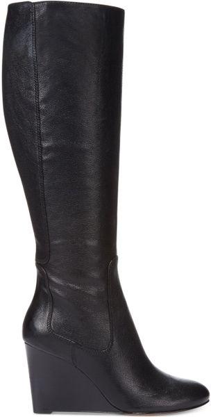 Nine West Heartset Tall Wedge Dress Boots In Black Black