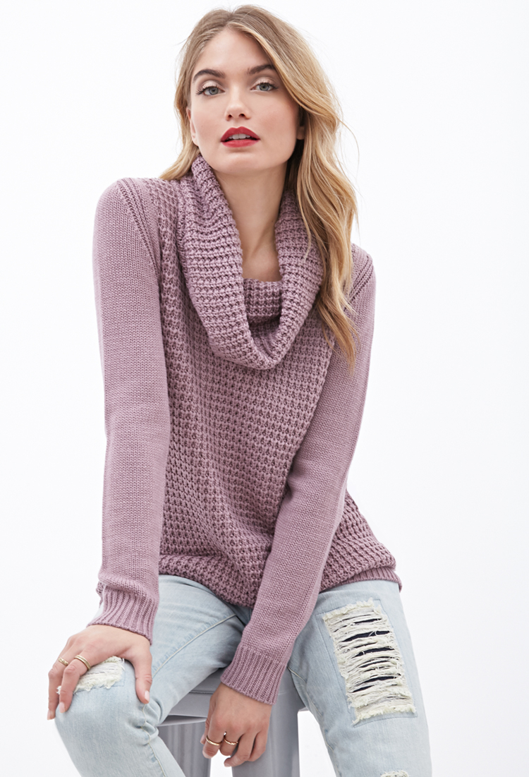7cdd799f5 Forever 21 Contemporary Mixed-knit Cowl Neck Sweater in Purple - Lyst