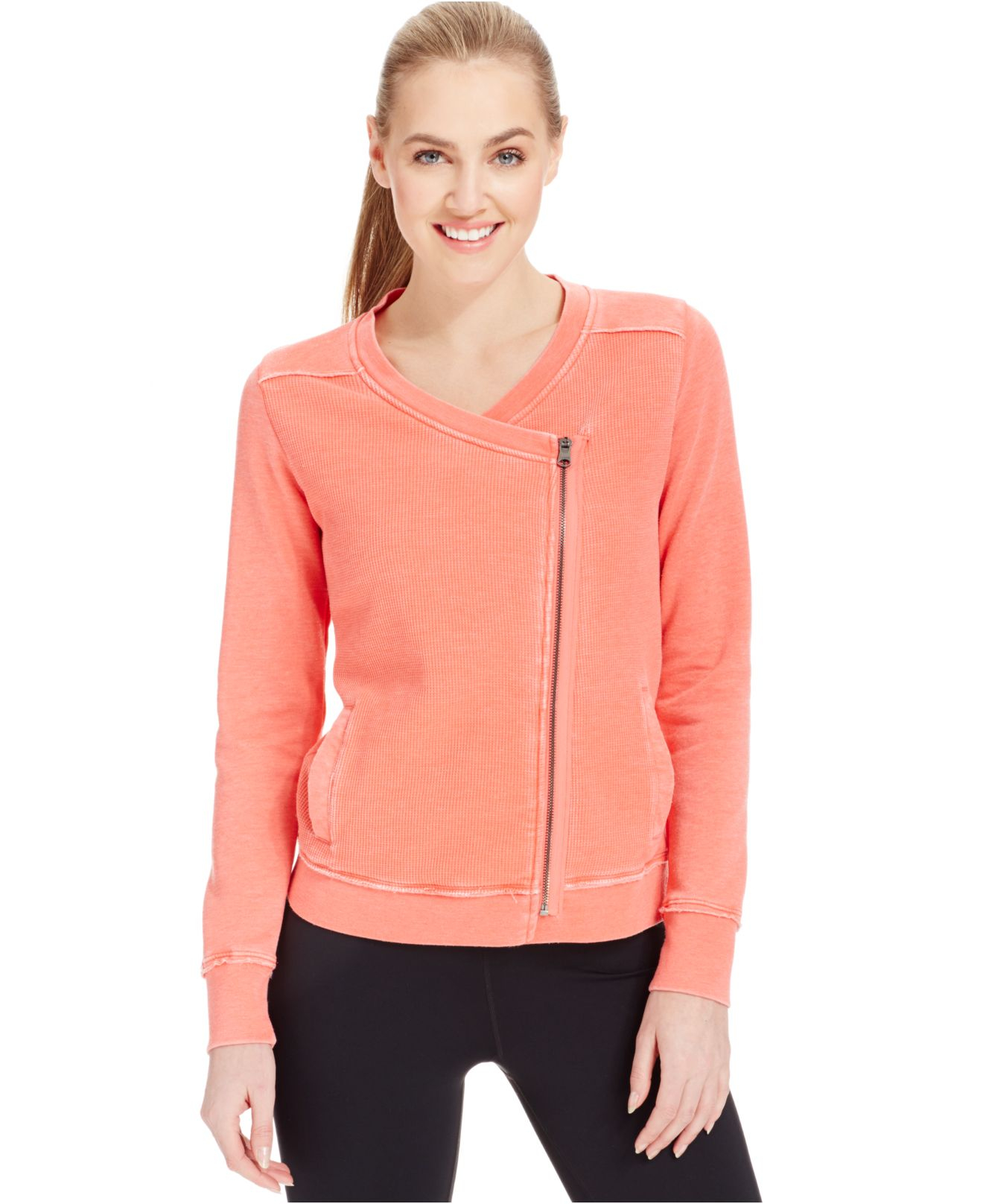 Lyst Calvin Klein Asymmetrical Zip Waffle Jacket In Pink