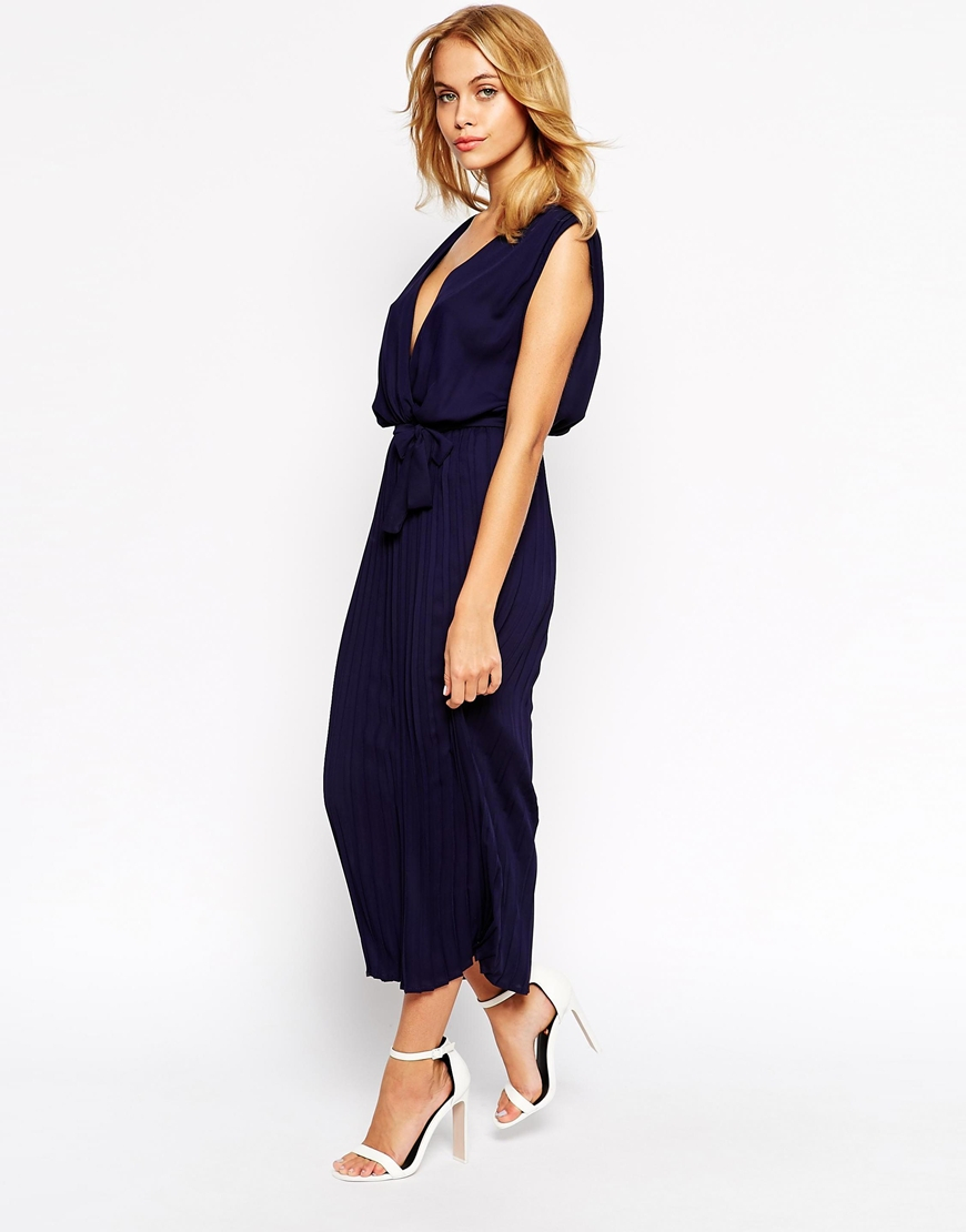 Love Wrap Front Belted Maxi Dress With Pleat Skirt in Blue | Lyst
