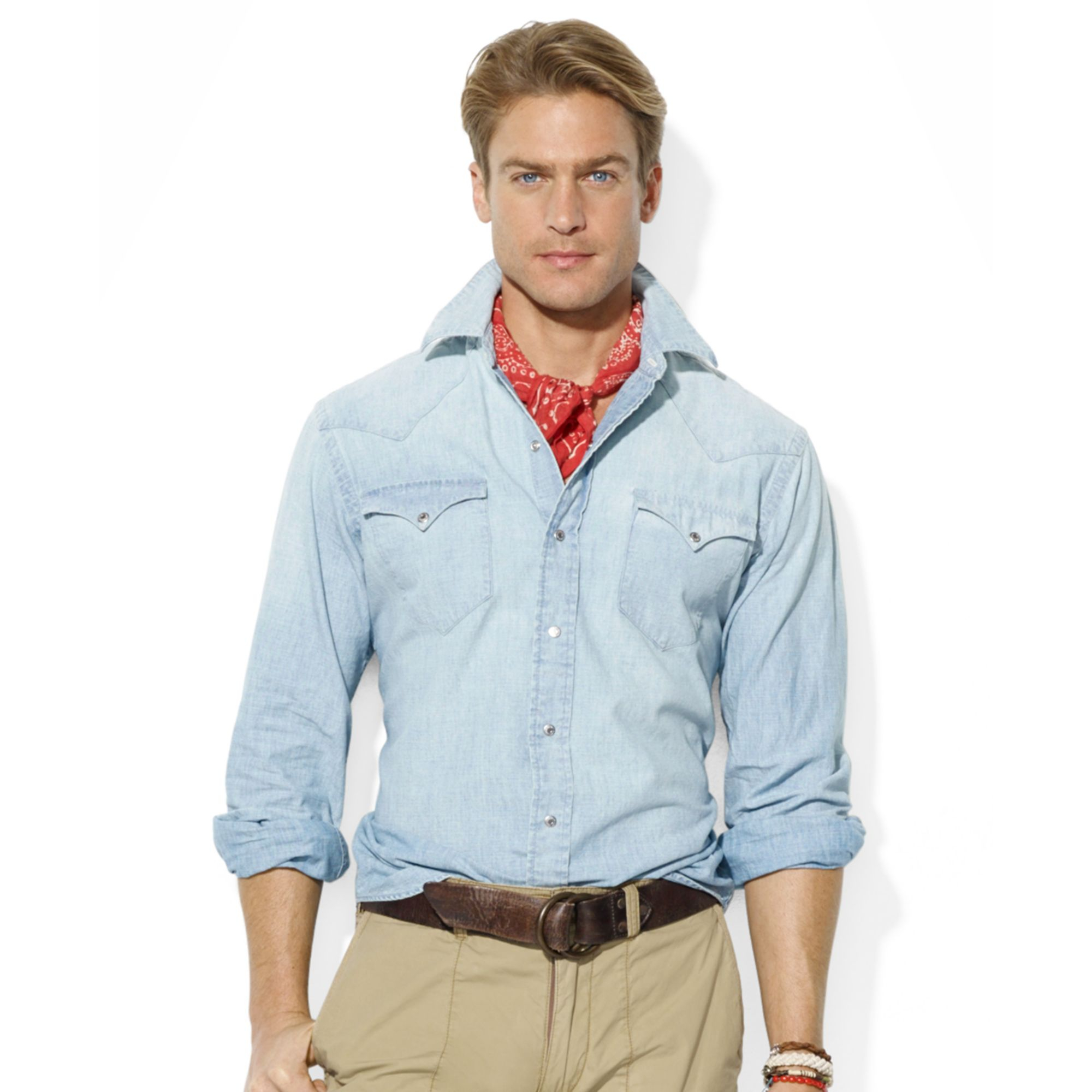 ralph lauren polo wild west chambray shirt in blue for men. Black Bedroom Furniture Sets. Home Design Ideas