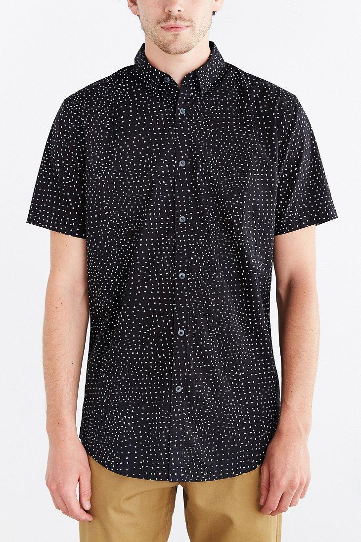 zanerobe seven foot polka dot button down shirt in black
