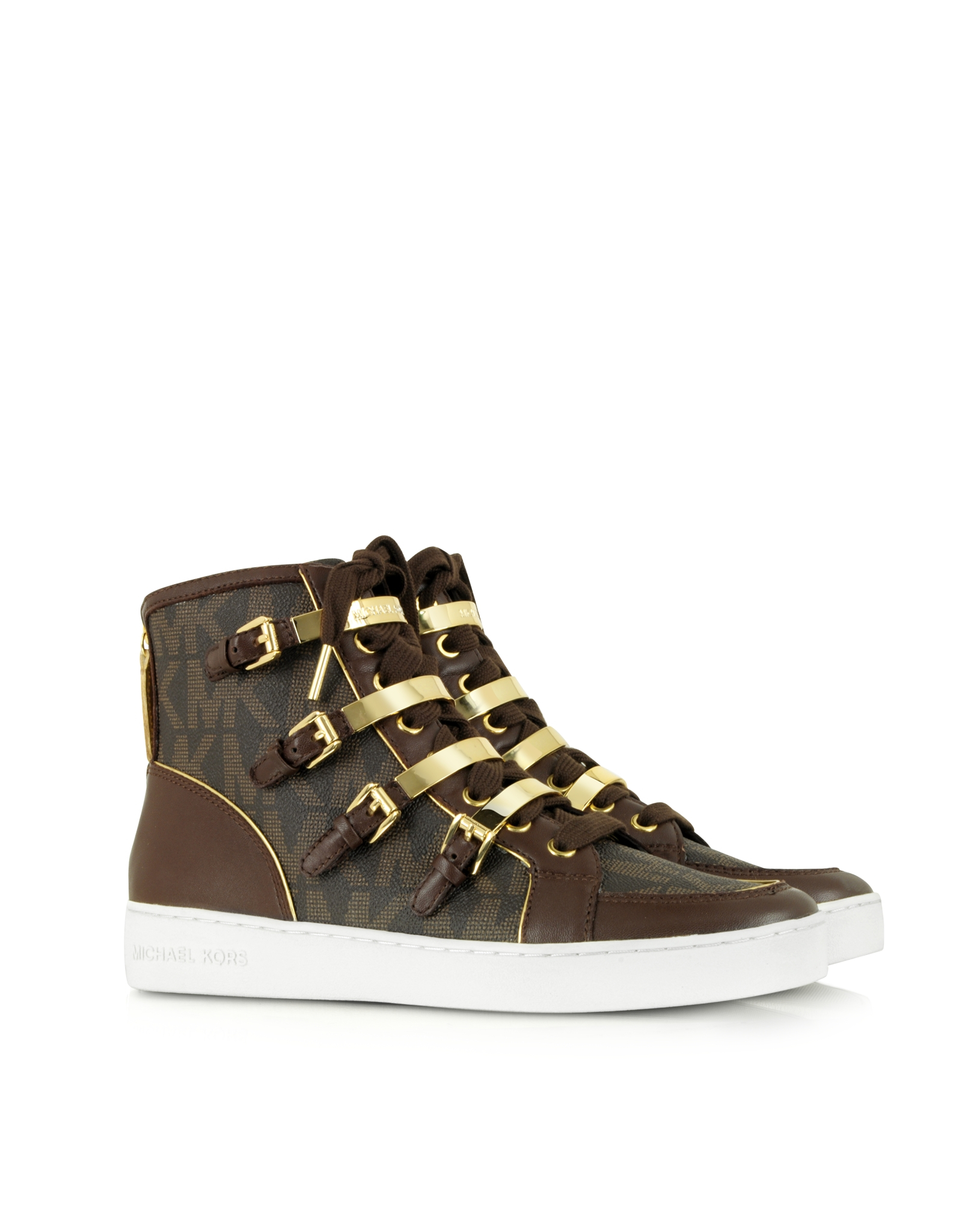 michael kors kimberly brown signature high top sneaker in brown lyst. Black Bedroom Furniture Sets. Home Design Ideas
