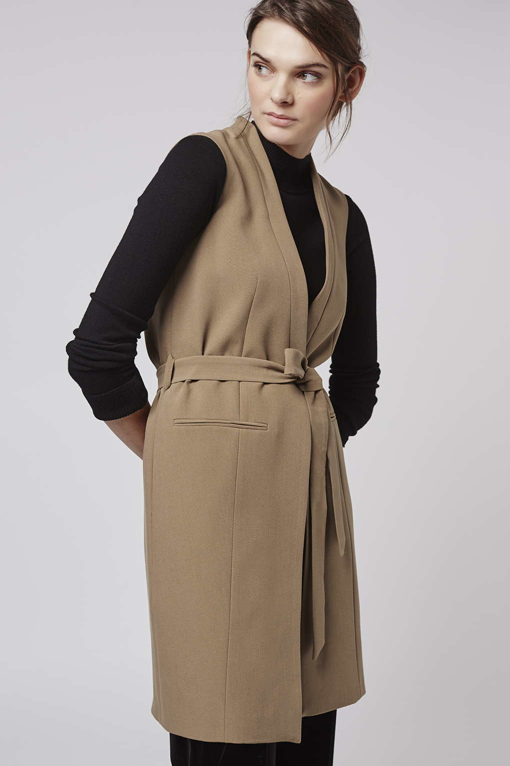 Lyst Topshop Belted Sleeveless Jacket In Natural