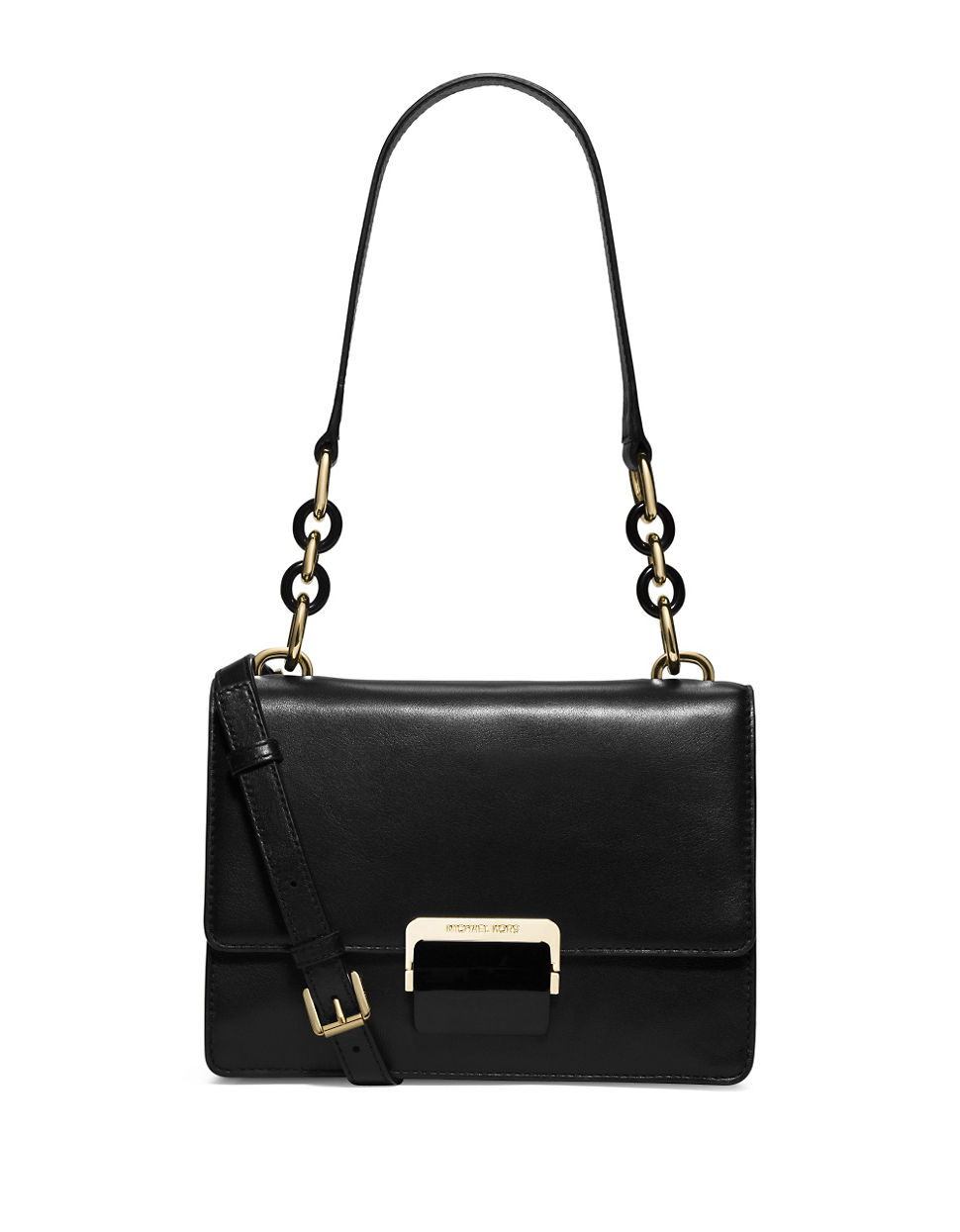michael michael kors cynthia leather shoulder bag in black lyst. Black Bedroom Furniture Sets. Home Design Ideas