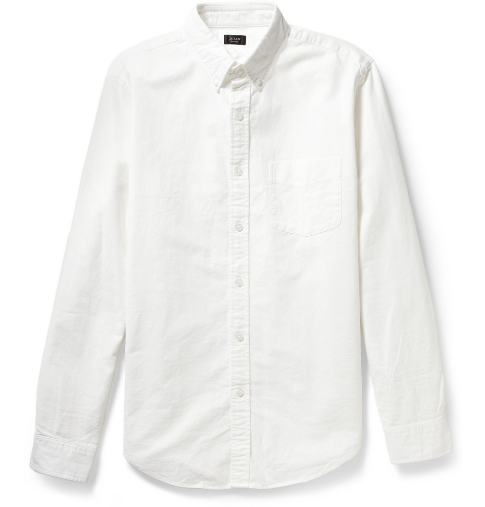 button down collar cotton oxford shirt in white for