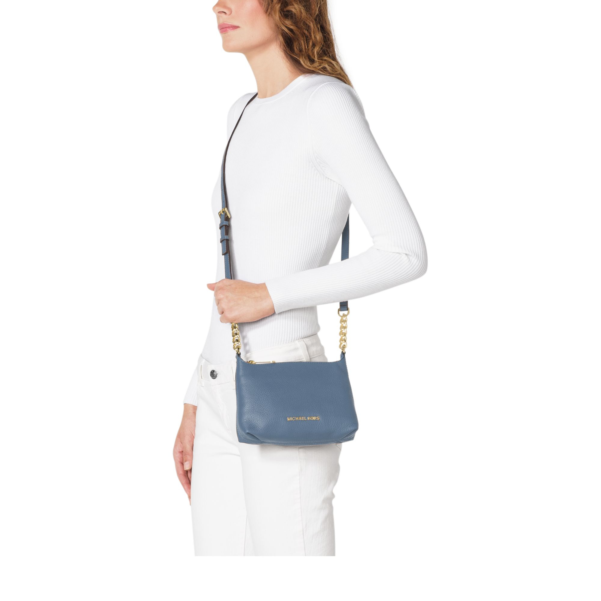 1c63a0479d Lyst - Michael Kors Bedford Leather Cross-Body Bag in Blue