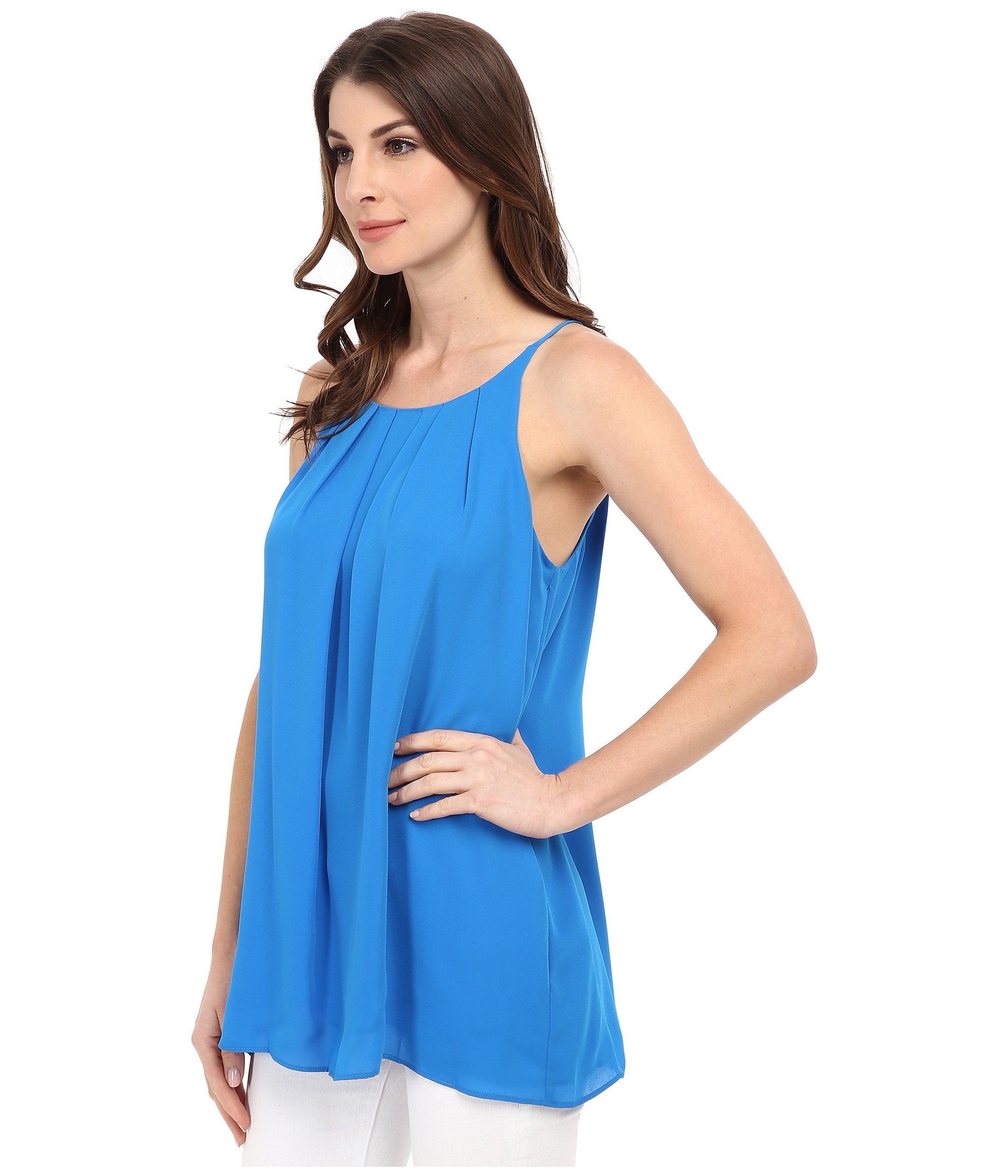 Lyst Vince Camuto Sleeveless Tank Top W Front Pleats In