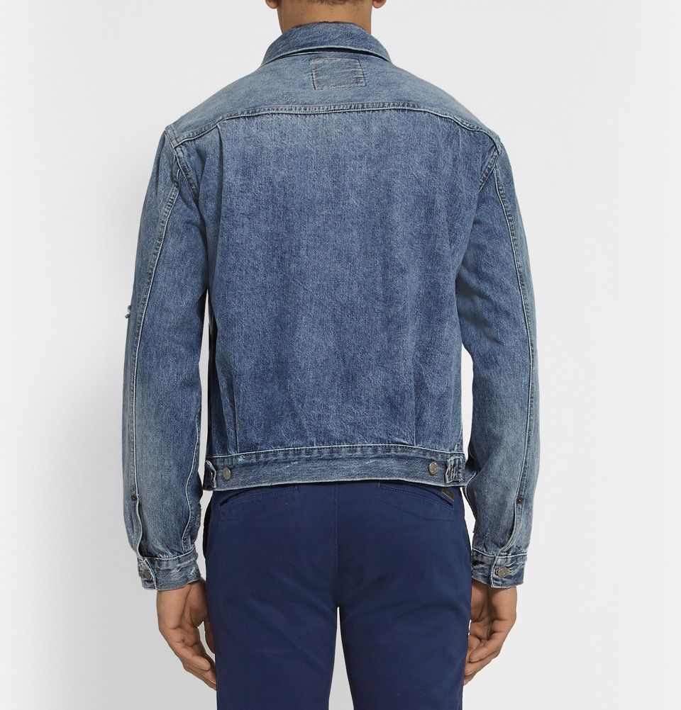 Levi 39 s type 3 fleece lined light wash sherpa jacket in for Types of denim shirts