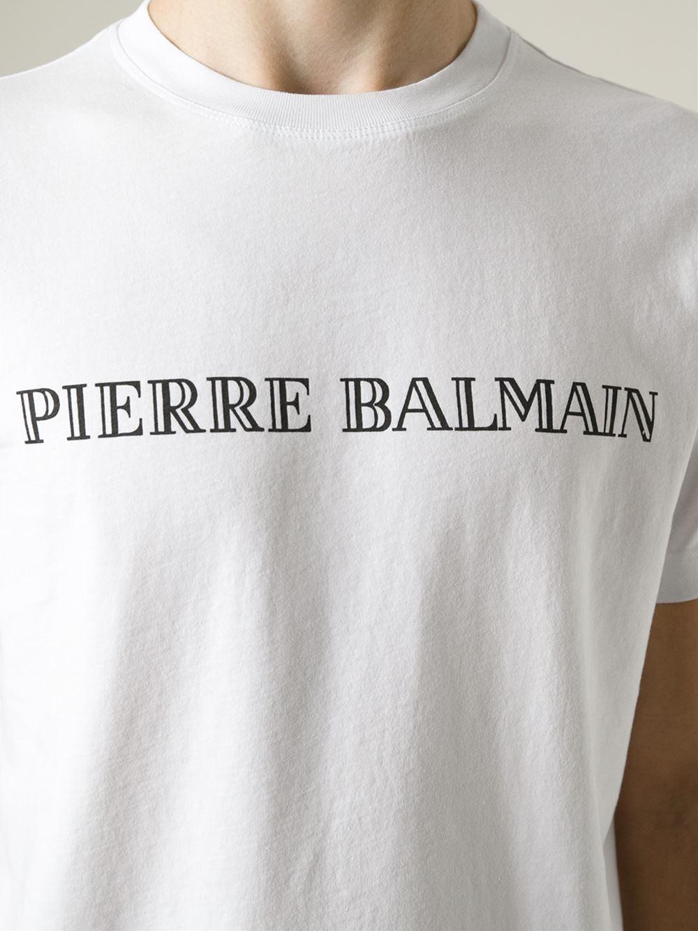 Balmain Logo Print T Shirt In Black For Men Lyst