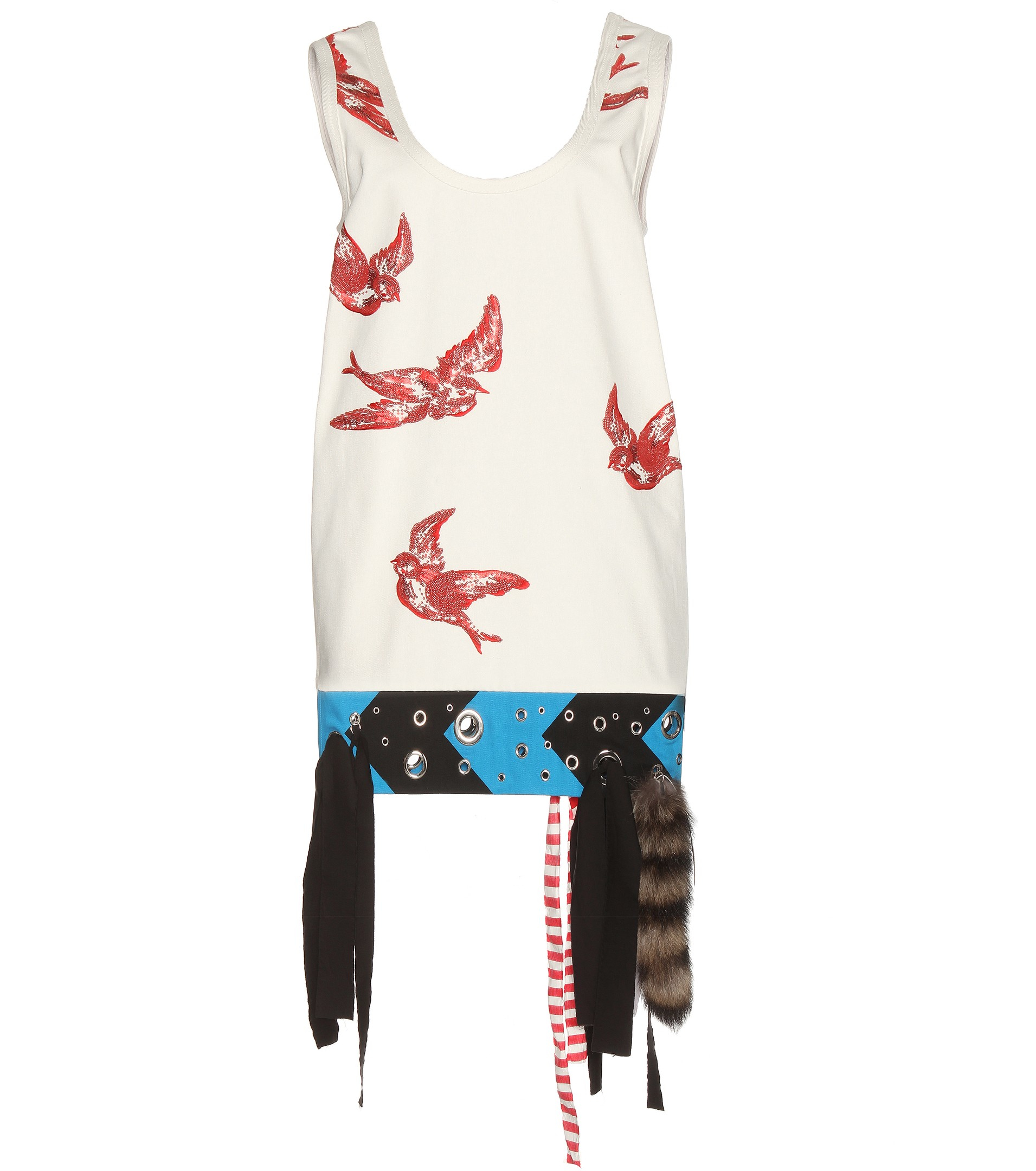 Embellished cotton dress Miu Miu Clearance Top Quality t5fYlyI