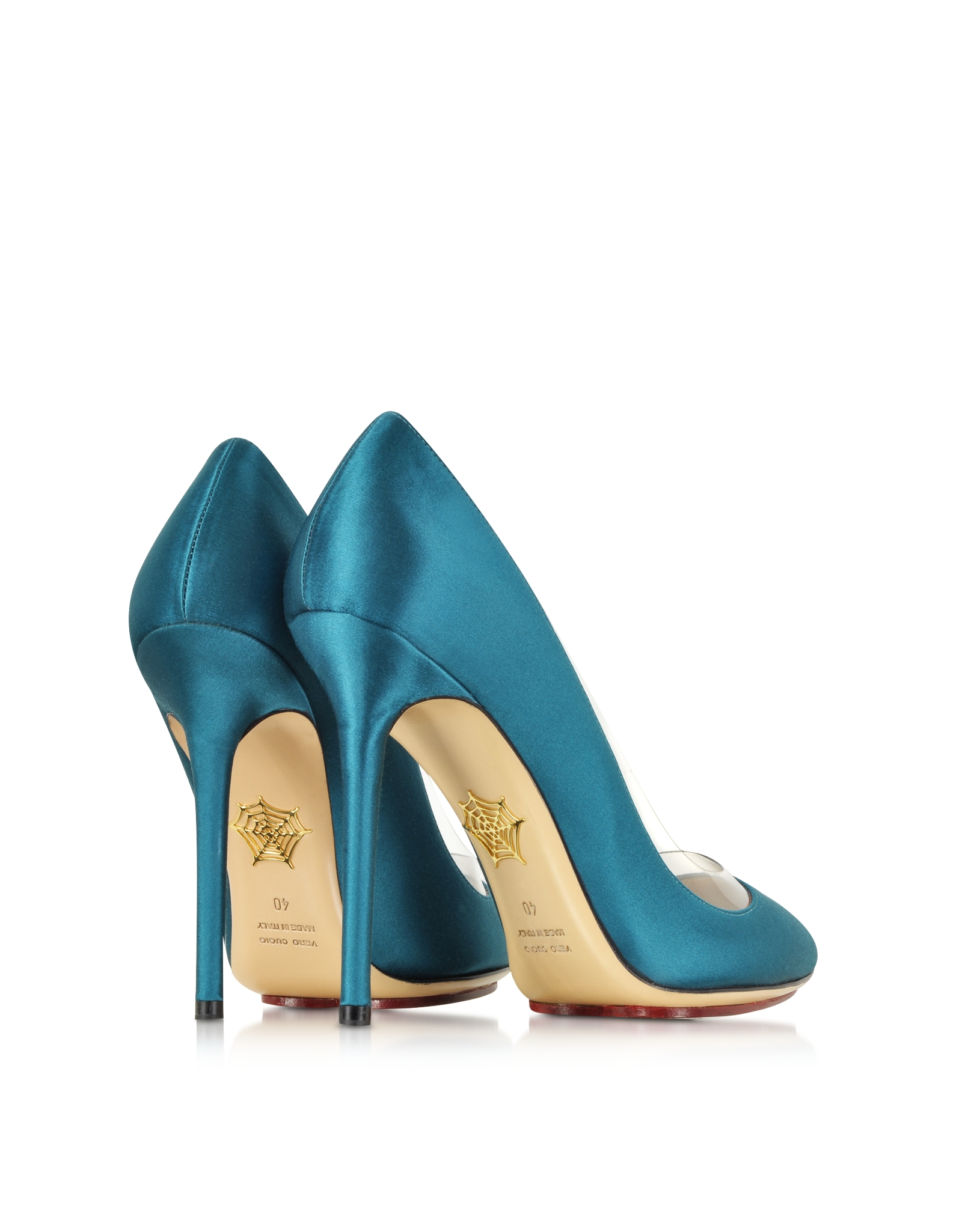 Blue Satin Court Shoes