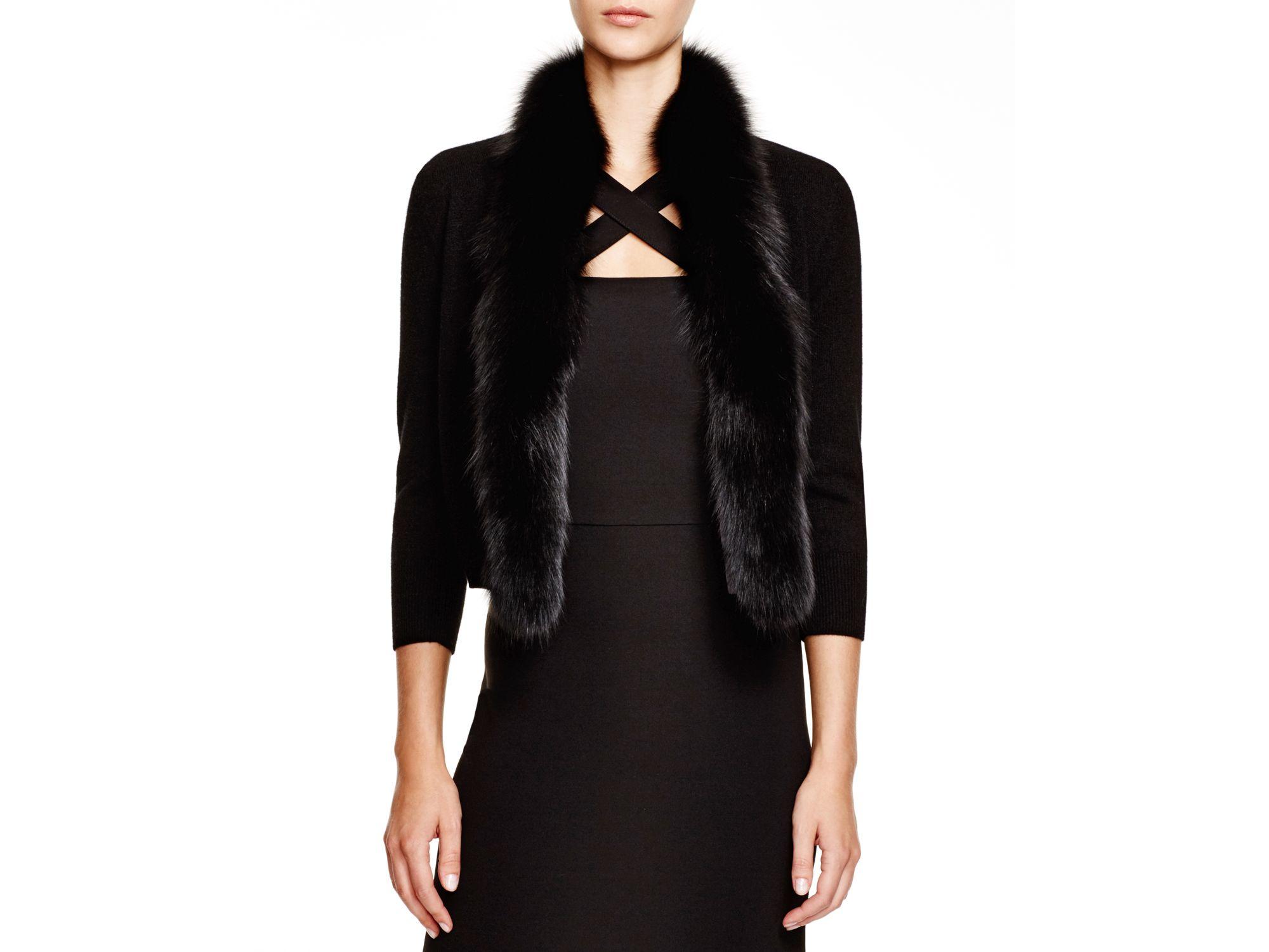 lyst c by bloomingdale\u0027s fox trimmed cashmere cardigan in black Strickjacke Hoodie Maenner Kleidung Strickjacke C 10_15 #17