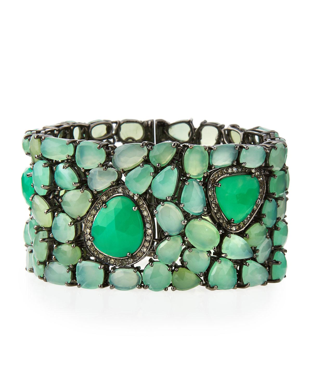 Diamond Anklet With Toe Ring Lc00035 In Anklets From: Bavna Chrysoprase Bracelet W/Diamonds In Green