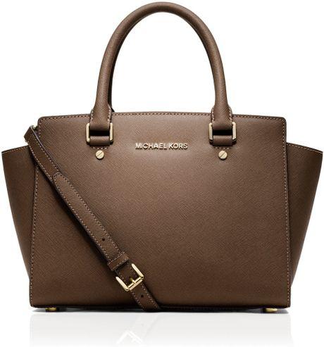 michael kors michael selma medium zip satchel in brown. Black Bedroom Furniture Sets. Home Design Ideas
