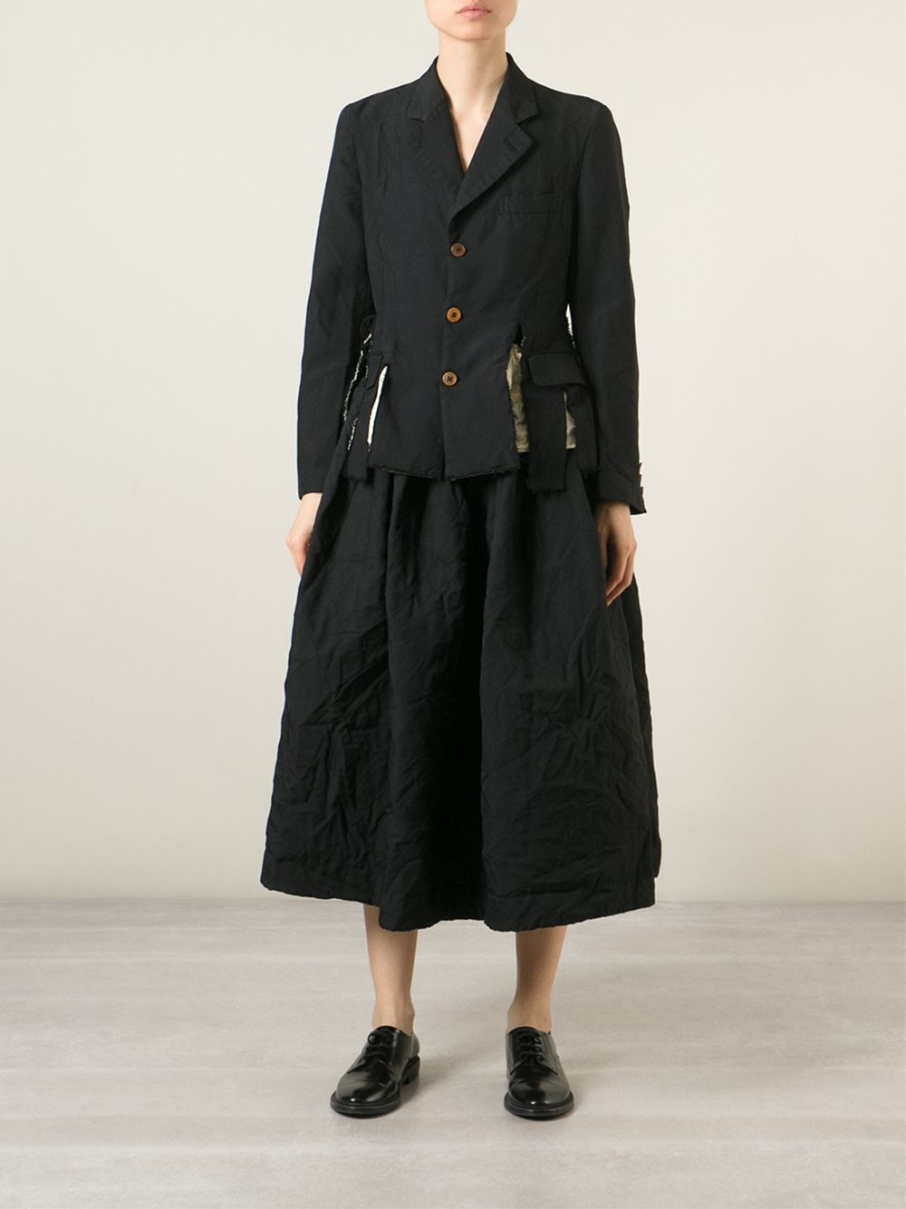 comme des gar 231 ons suspenders pleated skirt in black lyst