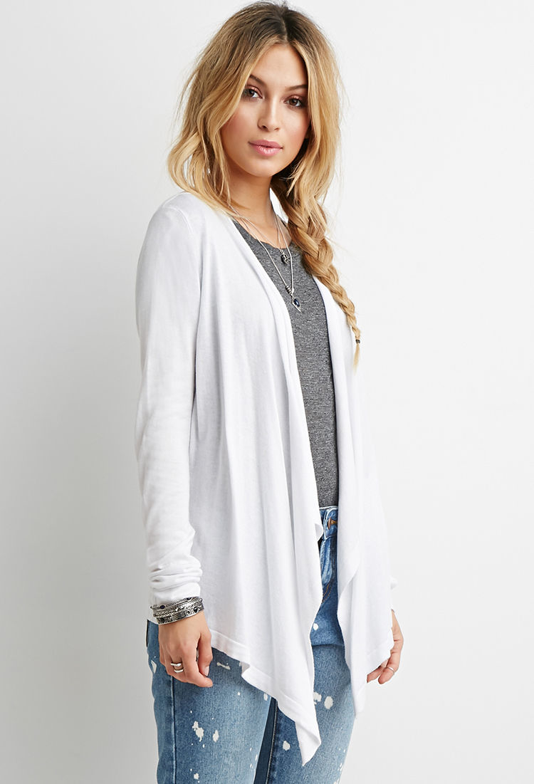 ux outerwear blouses sleeves long open cardigan design ladies drapes tops woman front draped waterfall