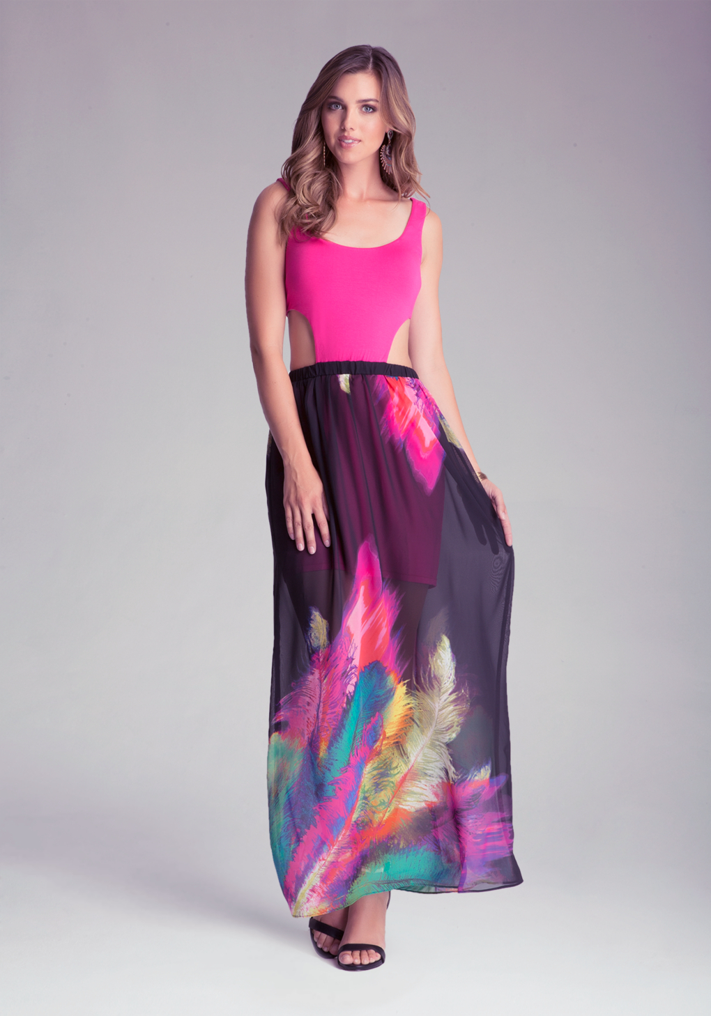 lyst bebe printed maxi dress in pink