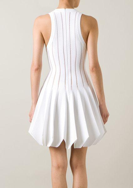 Azzedine Alaïa White Stretch Knitwear Dress in White