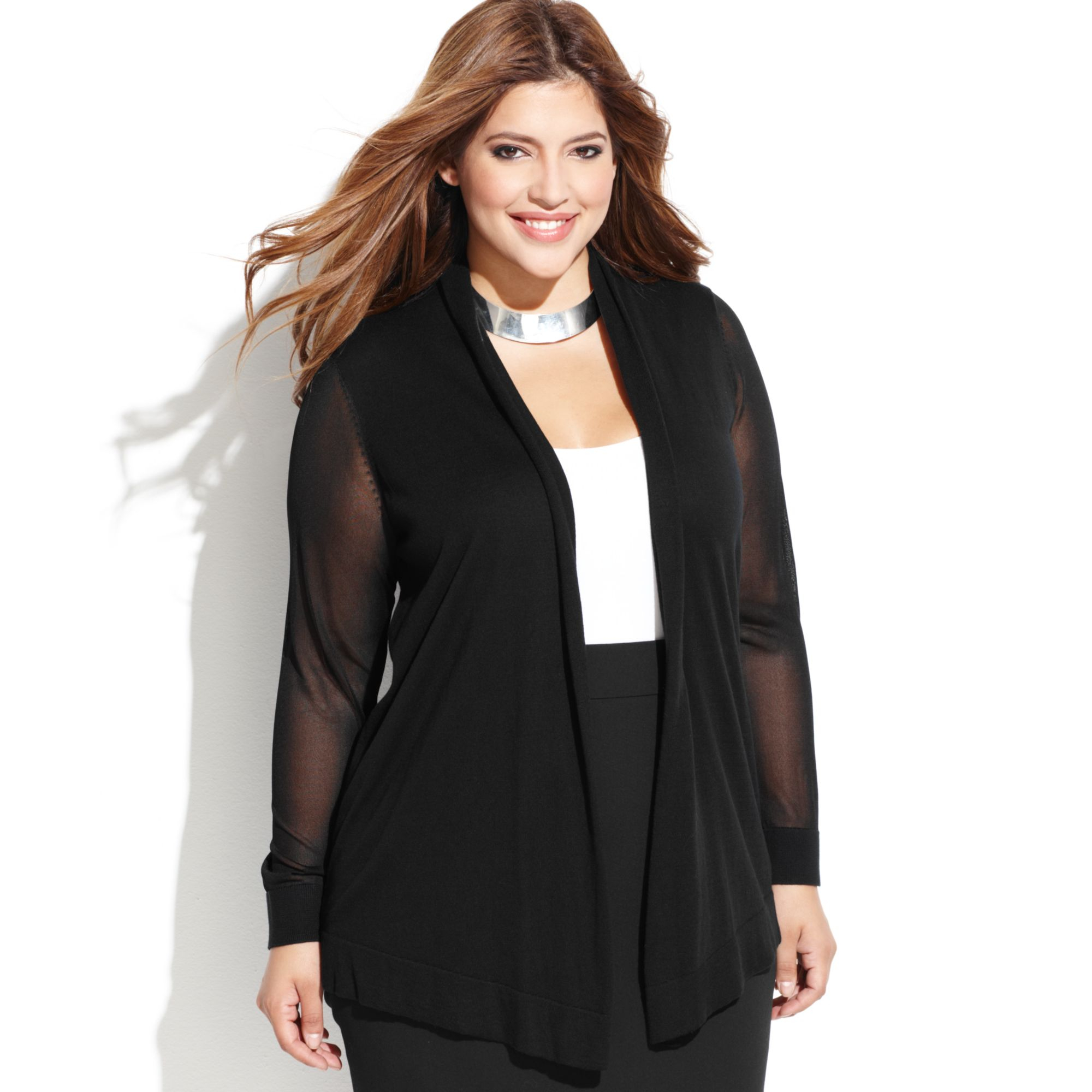 Vince camuto Plus Size Sheersleeve Openfront Cardigan in Black | Lyst