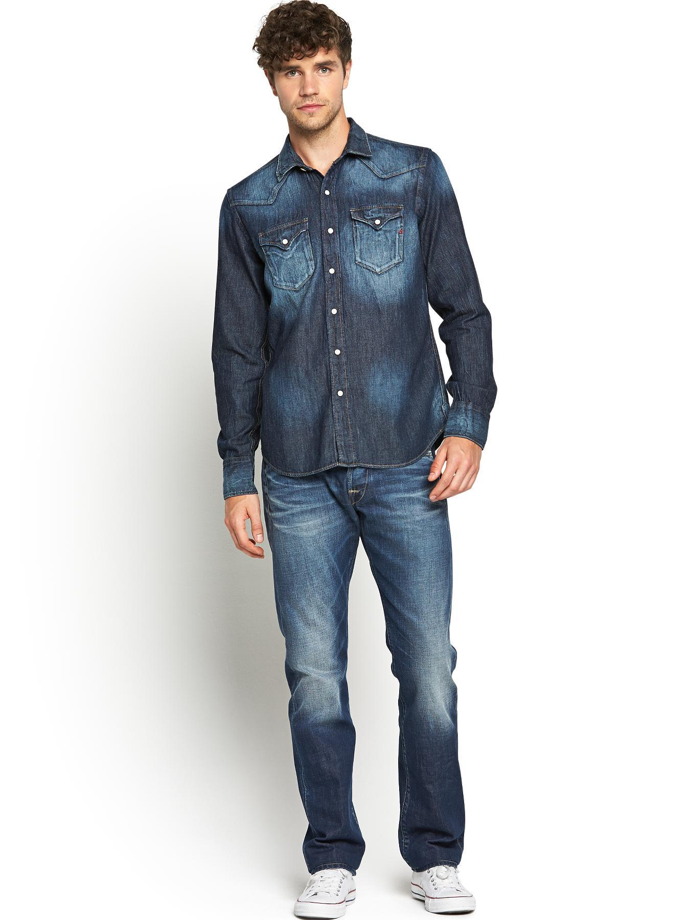Replay Mens Washed Denim Long Sleeve Shirt In Blue For Men