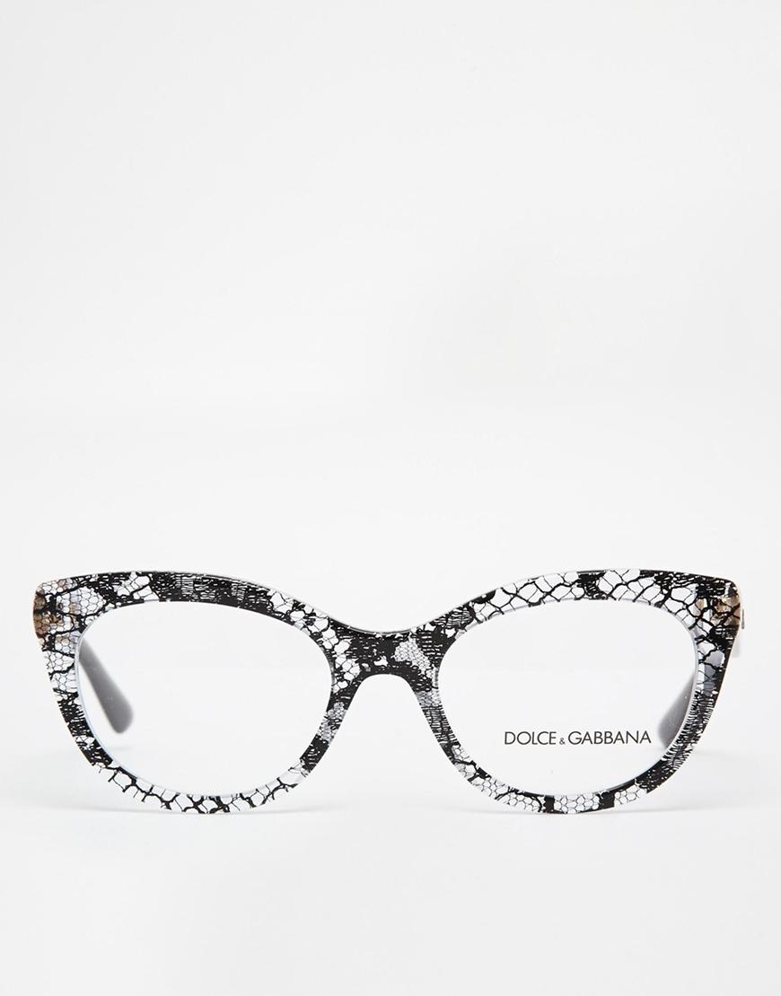 df60660999 Lyst - Dolce   Gabbana Patterned Cat-Eye Glasses in Black