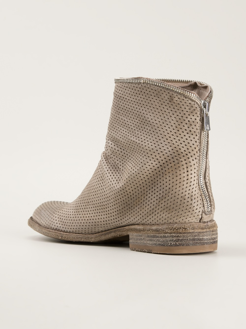 Officine Creative Perforated Ankle Boots In Gray Lyst