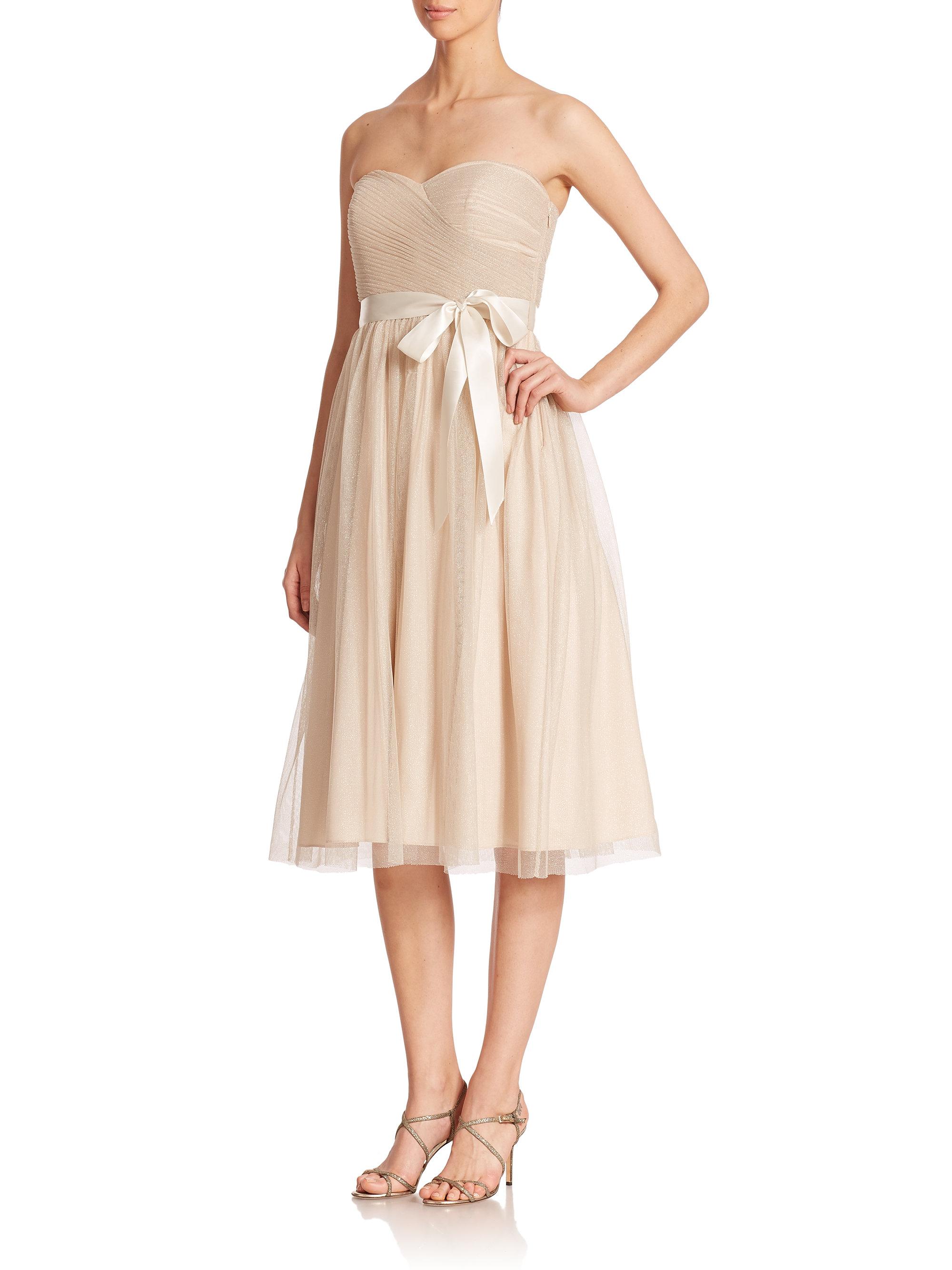 Aidan mattox strapless metallic mesh bridesmaid dress in metallic gallery ombrellifo Choice Image
