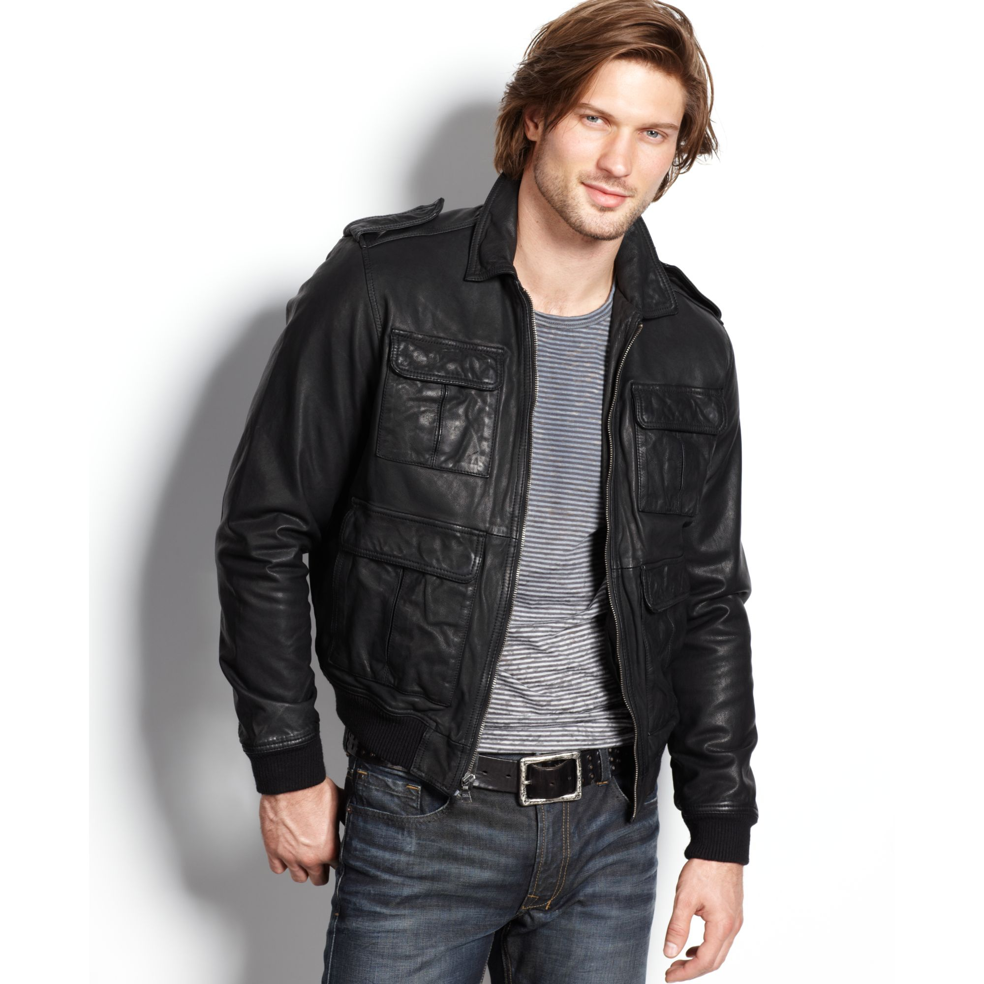 Kenneth cole reaction Leather Bomber Jacket in Black for Men | Lyst