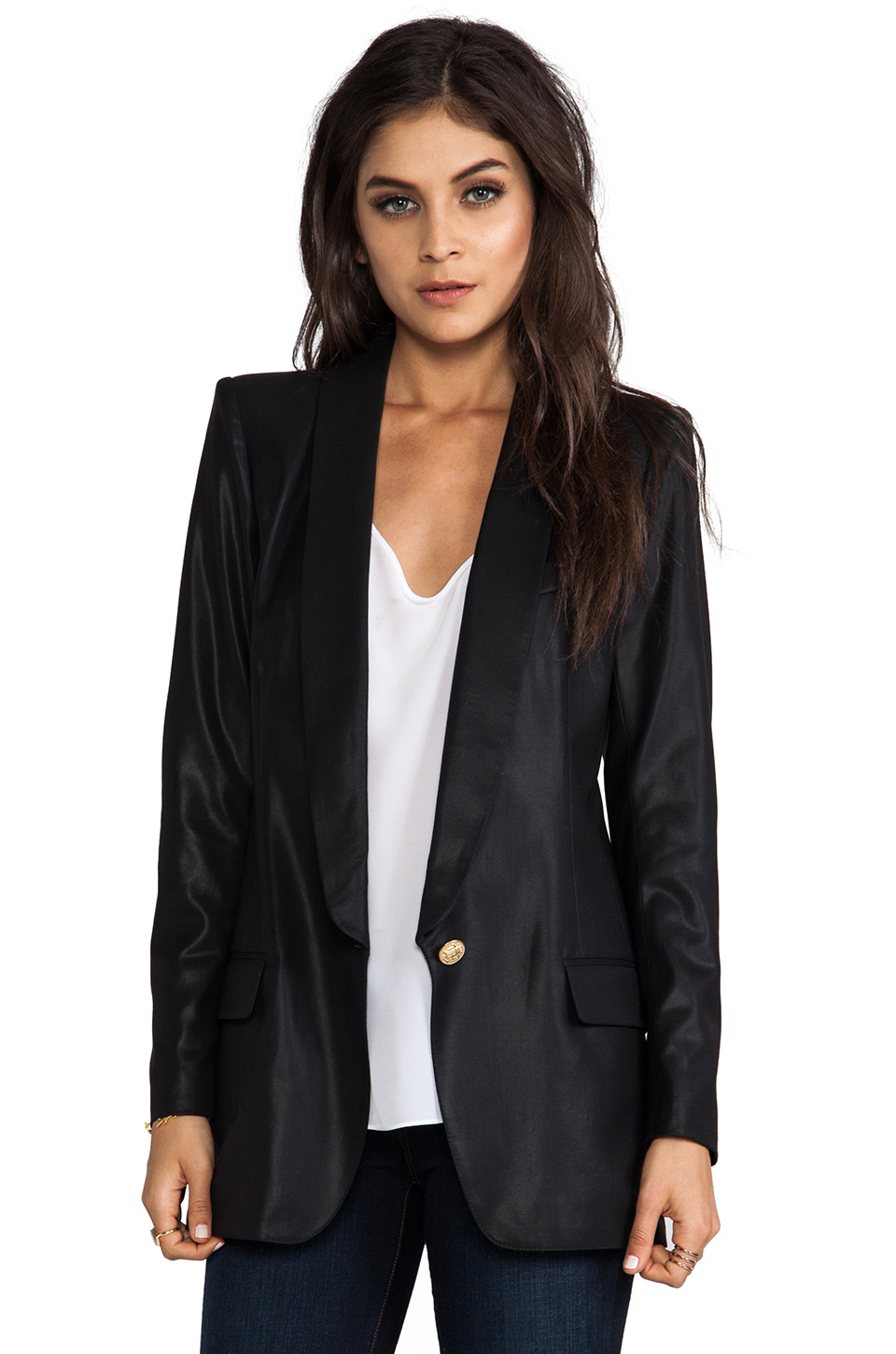 Smythe Long Shawl Blazer In Black Black Shine Lyst