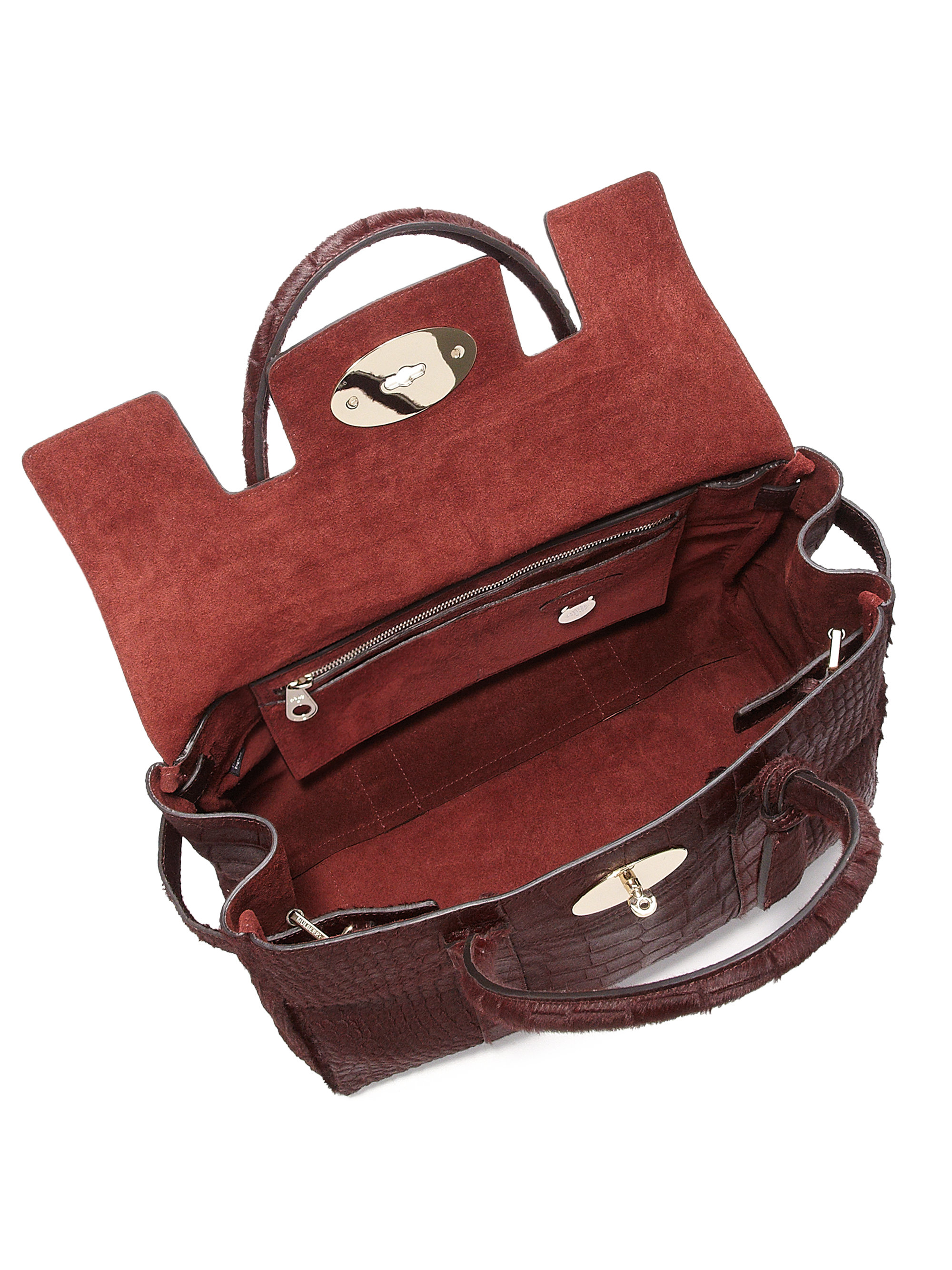 59cfca1fcded ... coupon lyst mulberry bayswater crocodile embossed calf hair satchel in  red 492d4 7c4b1