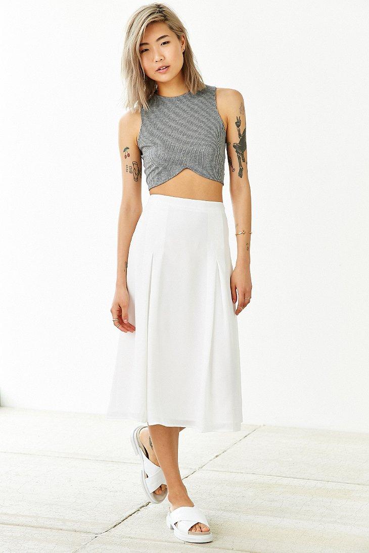 Silence   noise Flowy Godet Midi Skirt in White | Lyst