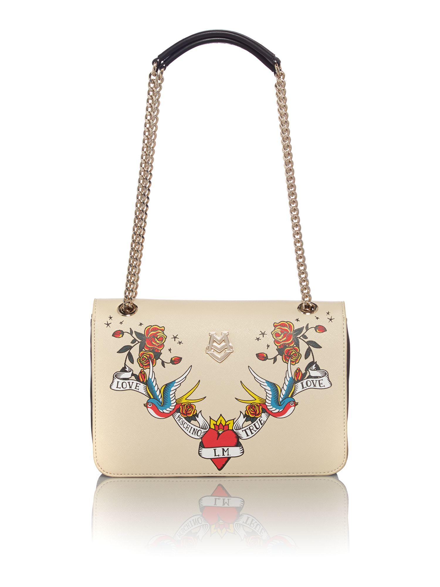 Love moschino Charming Neutral Print Shoulder Bag in Natural | Lyst