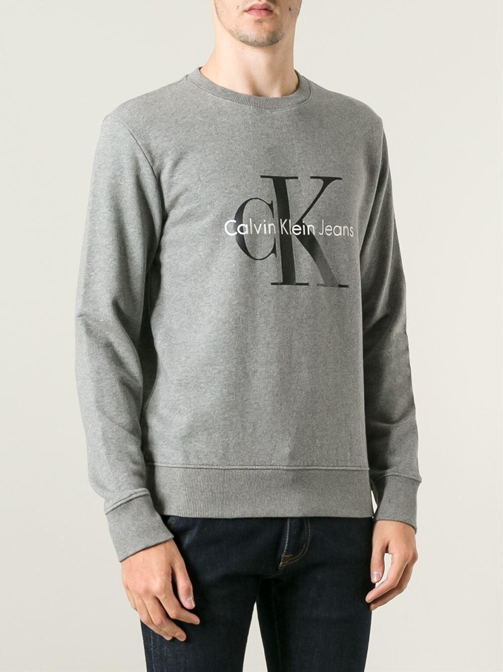 calvin klein jeans crew neck sweatshirt in gray for men. Black Bedroom Furniture Sets. Home Design Ideas